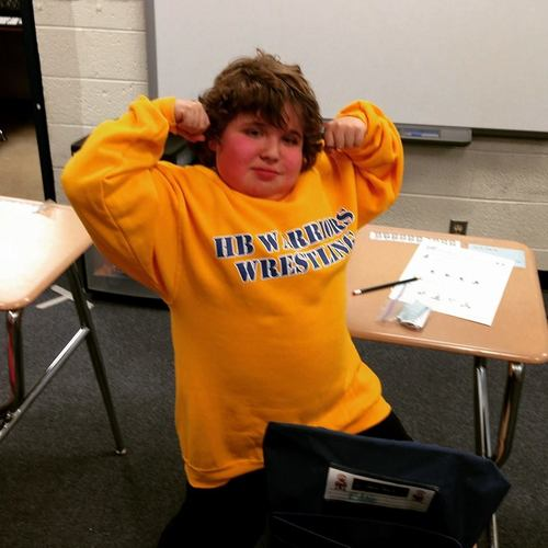 MMF Muscle Champion, Eddie Hazeldine, inspired his fellow classmates at Henry B. duPont Middle School (DE) to join his wrestling team's fight against muscle disease!