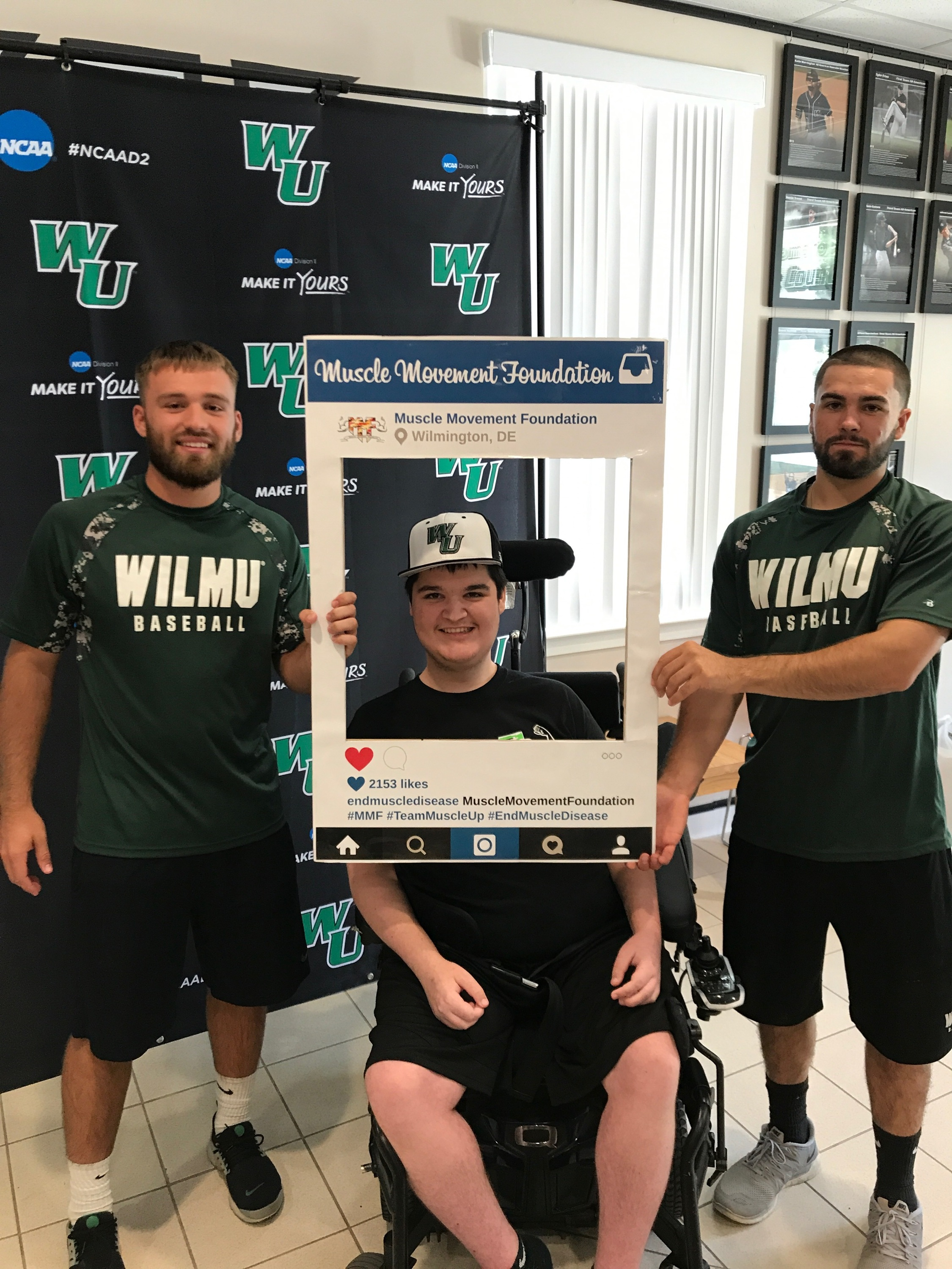Wilmington University baseball members, Julian Kurych and Nick Macey, welcome Muscle Champion and WilmU student Mike Smith to the team!