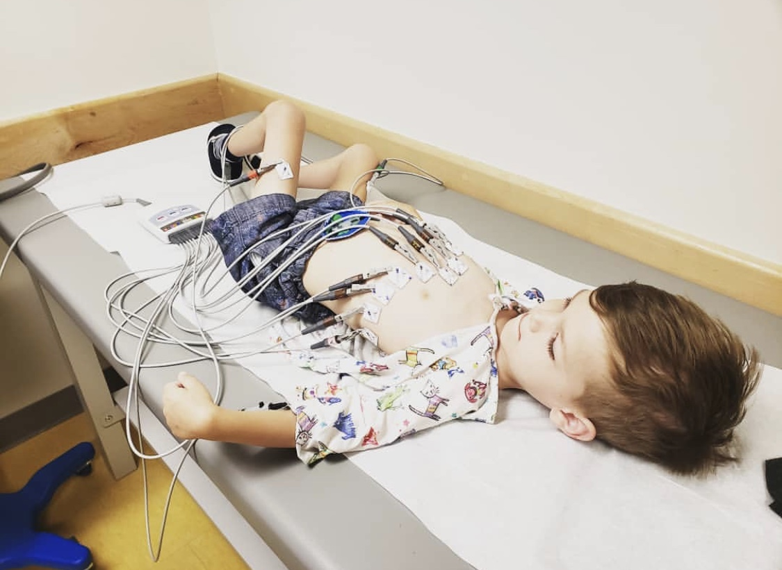 Muscle Champion, Harry Smith, endures testing for his cardiac arrhythmia due to EDMD.