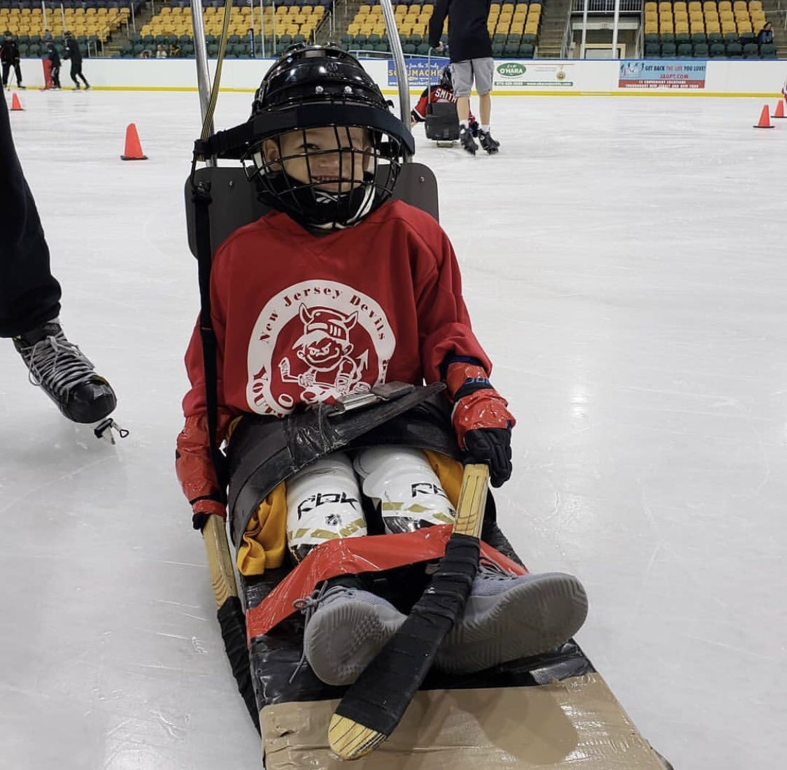 MMF Muscle Champion, Harry Smith, ready for sled hockey!