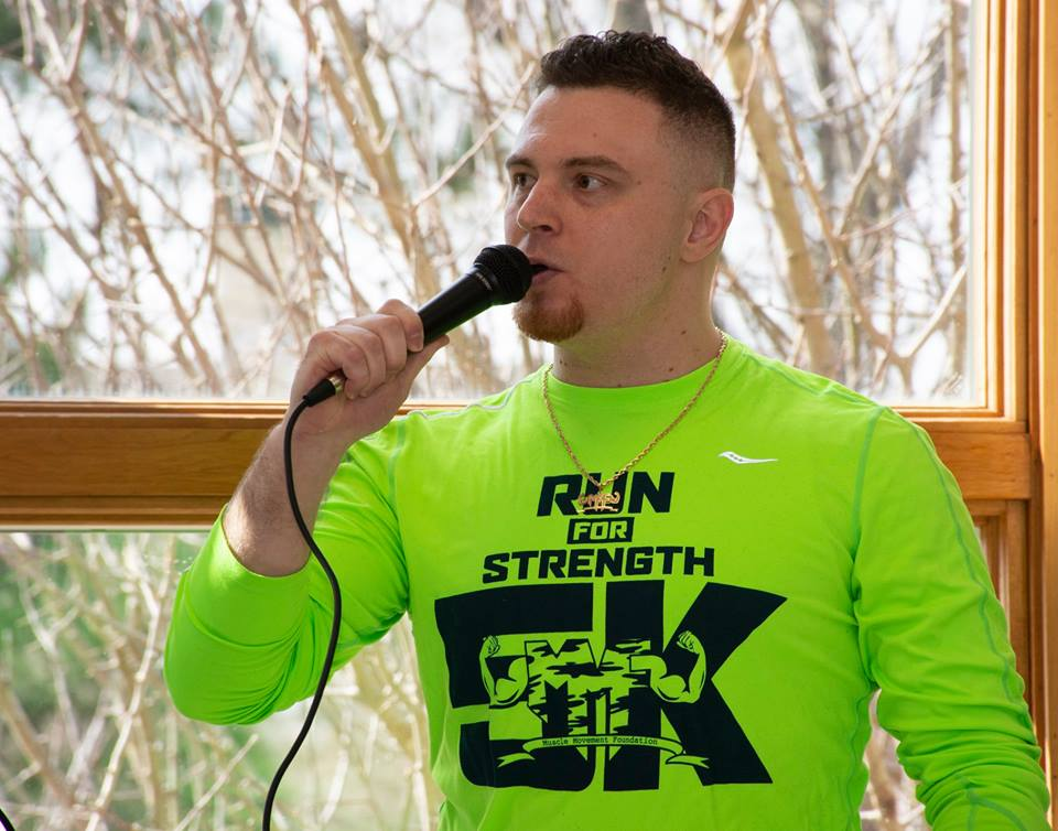 MMF Founder, Rob DeMasi, addresses supporters at the 3rd Annual MMF Delaware Run for Strength 5k.