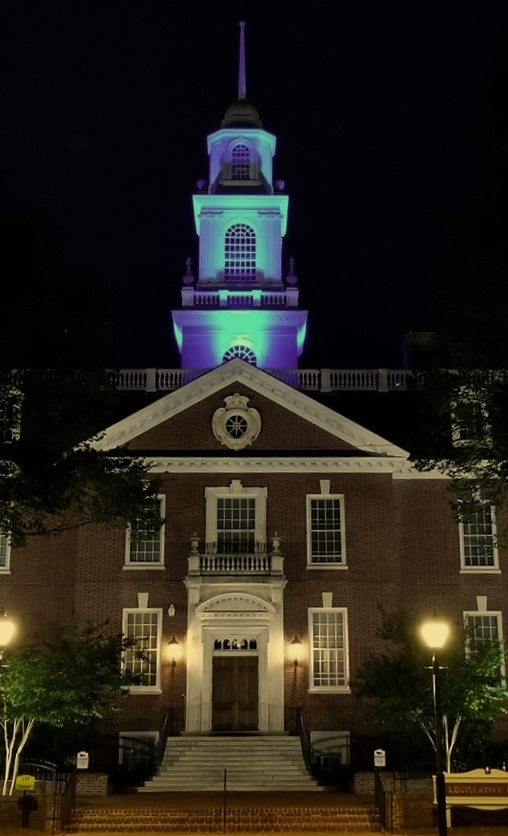 Legislative Hall in Dover, DE lit up teal for myasthenia gravis (MG) awareness month!