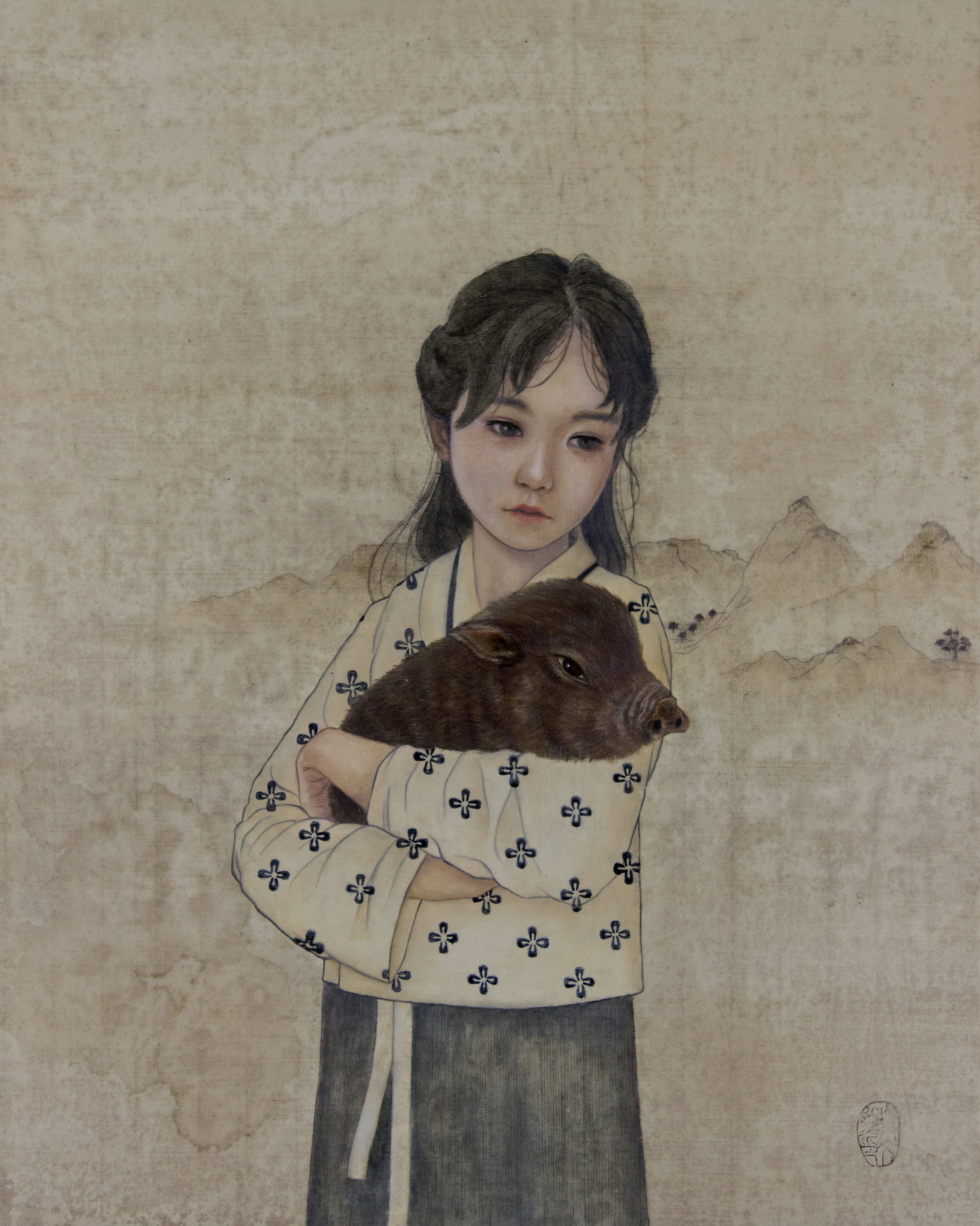 The Sixth Missed, Nostalgia Chinese New Year Inspired Contemporary painting by Maine artist Lavennz Ooi