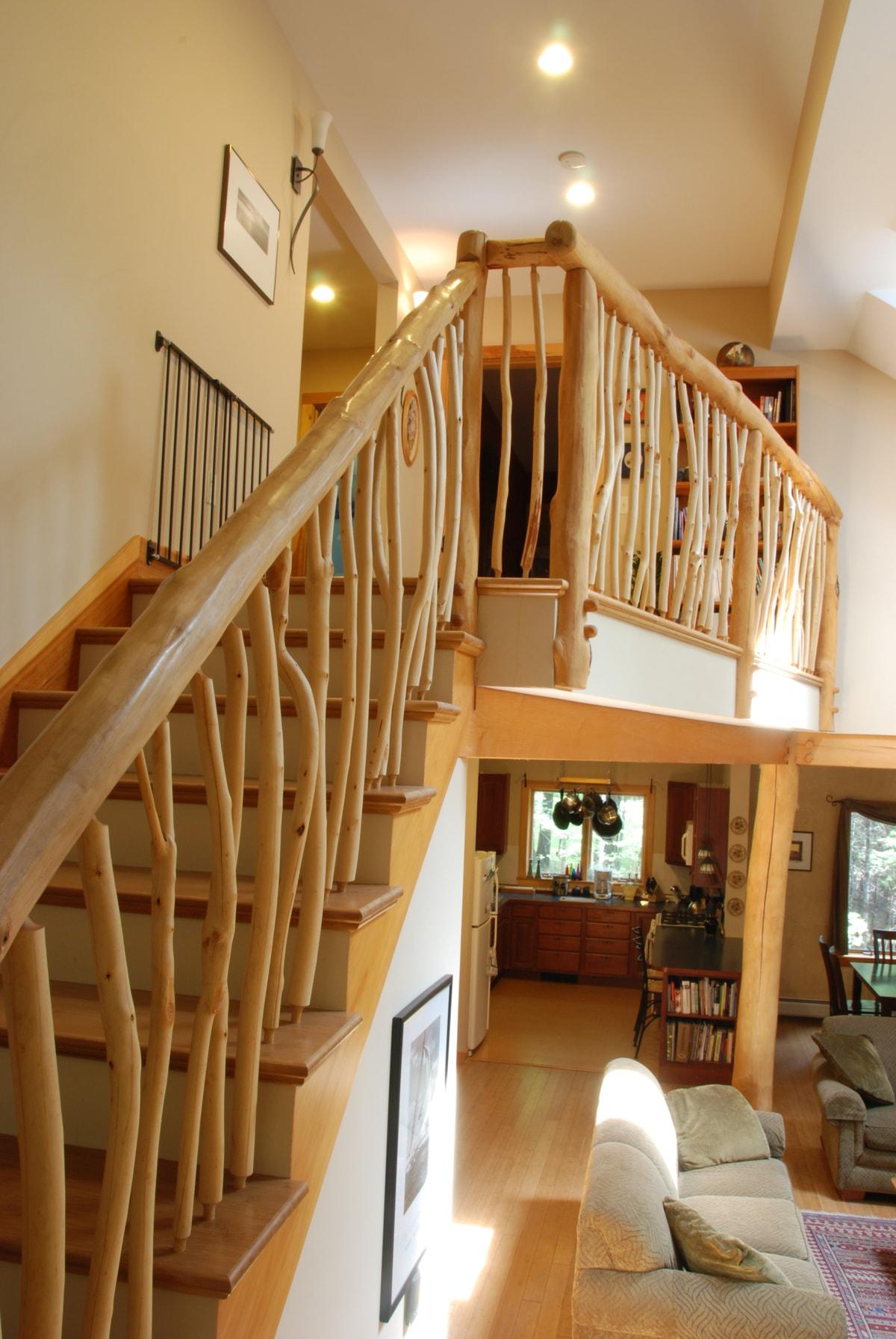 Local artisan, custom made, maple banister.