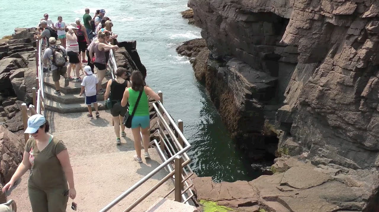 Thunder Hole is one of the many scenic stops on the Park Loop Road.