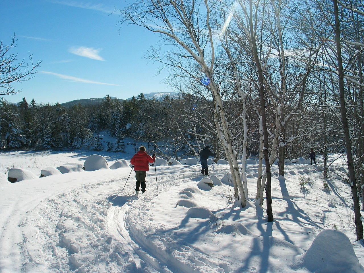 Cross country skiing and snow shoeing are popular sports along the carriage roads in winter