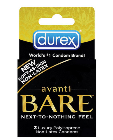Introducing Durex Avanti Bare condoms, one of the most technologically advanced condoms ever produced. Made from an ultra refined  polyisoprene  material, the Durex Avanti Bare Condom is considerably softer and more comfortable to use than its popular predecessor. The high tech material of Avanti Bare is thinner than any latex condom available today and is well suited for those with latex allergies. Please note: Durex Avanti Bare Condoms are not compatible with oil-based lubricants.  Suitable for natural rubber latex sensitive users*.  Soft-as-skin polymer for an exceptional natural feel.  Softer and better feeling than polyurethane.  Specially shaped to be easy to put on and more comfortable to wear.  Our condoms are specially made to smell better.