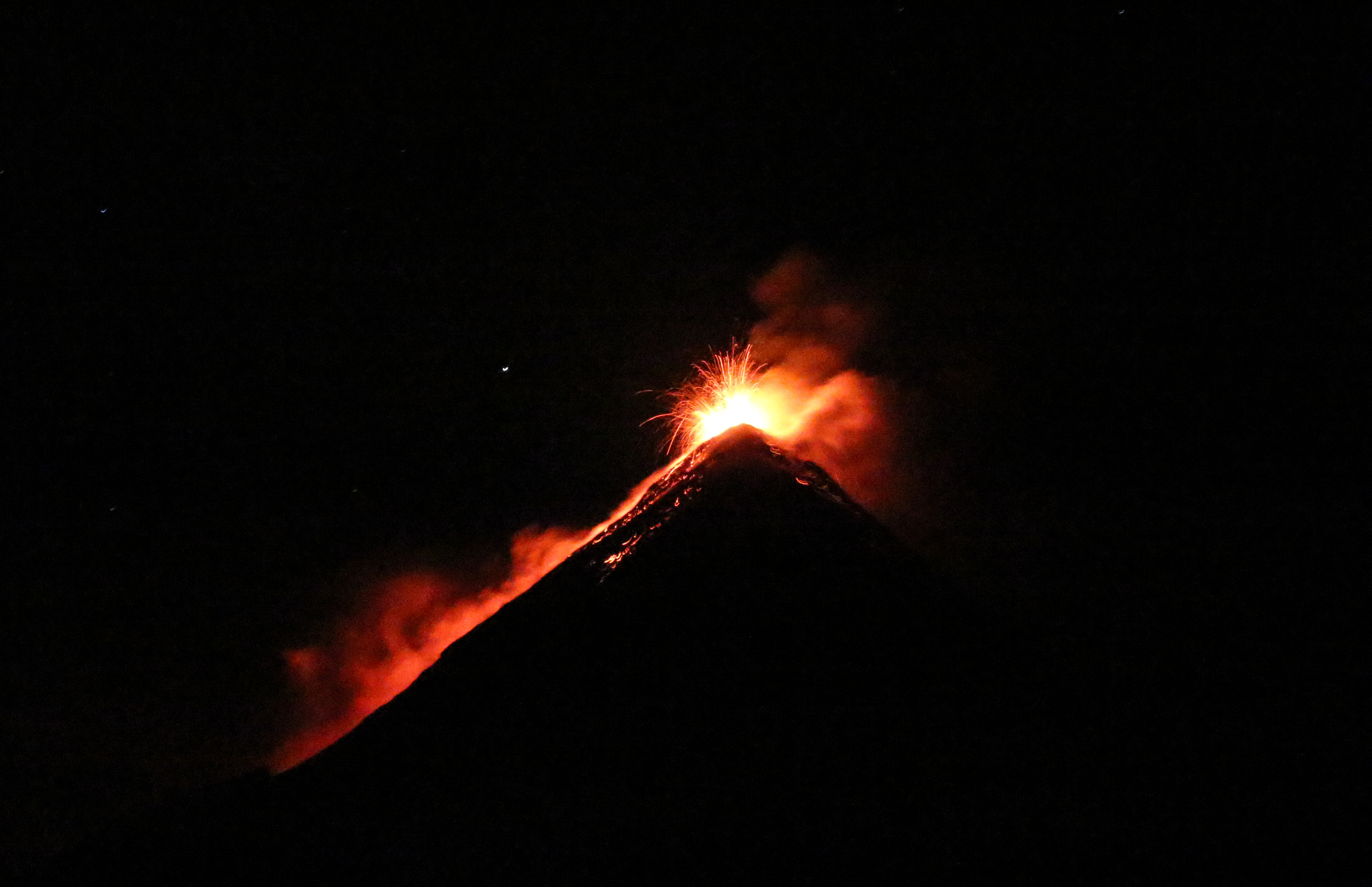 Fuego erupting by night. Astonishing.