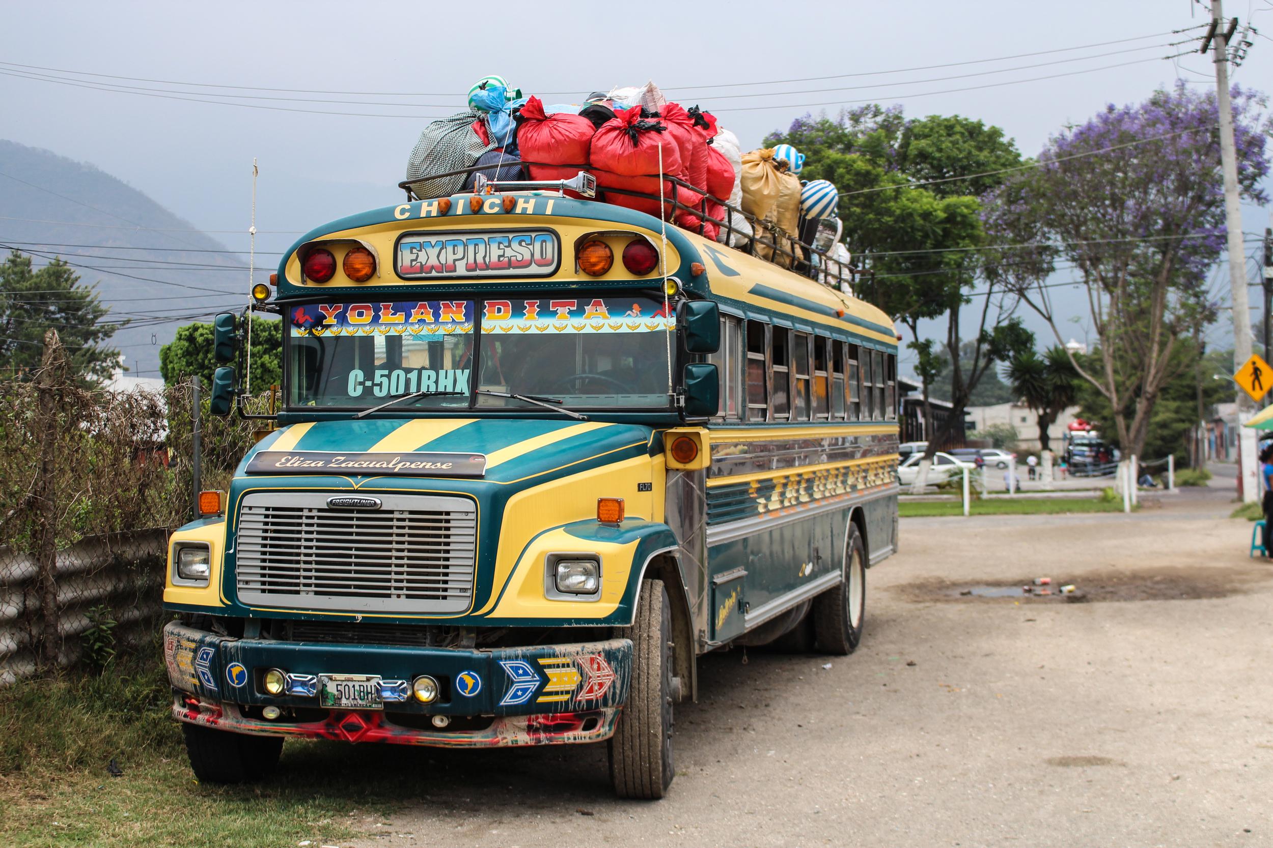 A chicken bus, named Yolandita, raring to go,