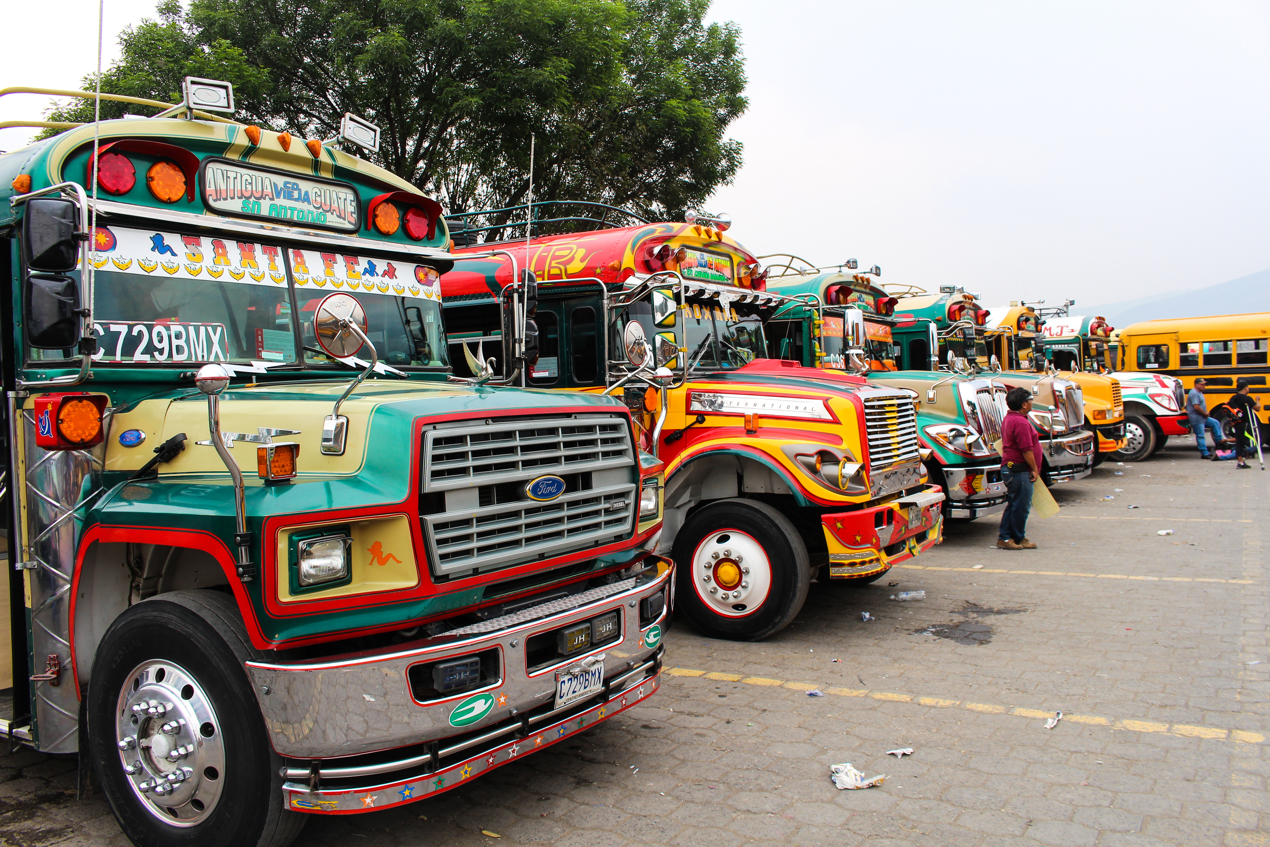 Chicken buses lined up in Antigua