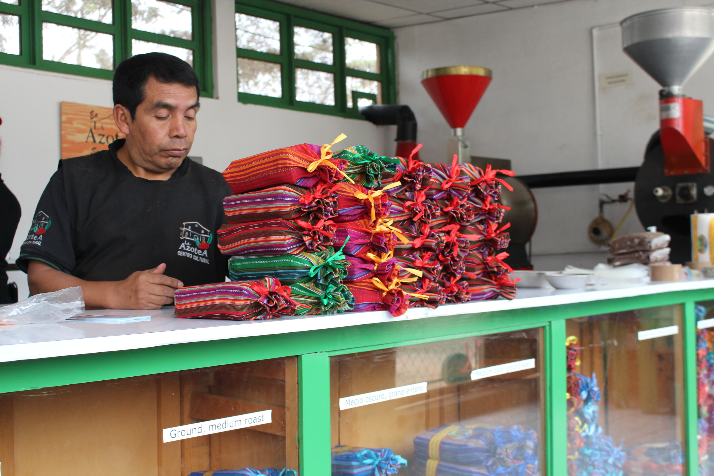 Beans are colourfully packaged, ready for shipment, at Azotea Finca