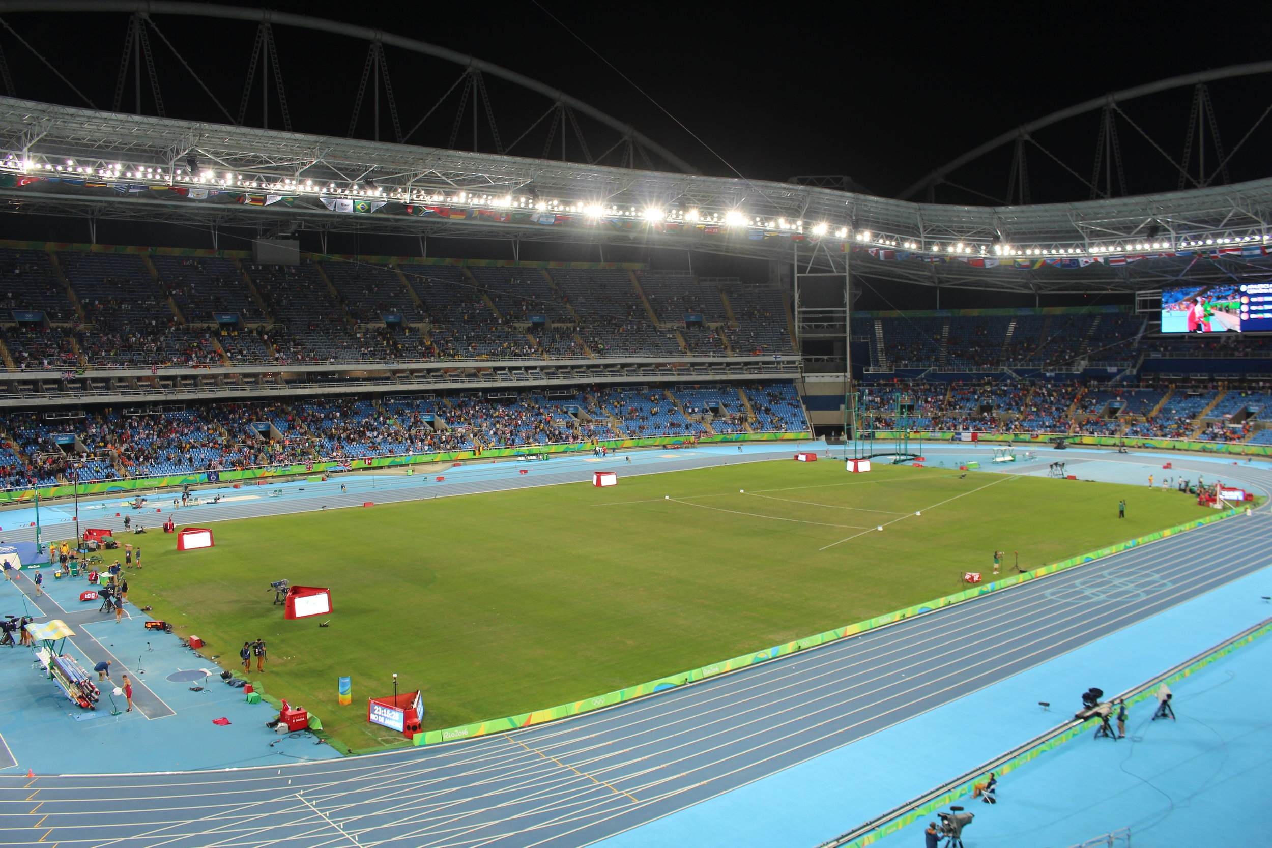 Empty seats dominate the view in the Engenhao athletics stadium