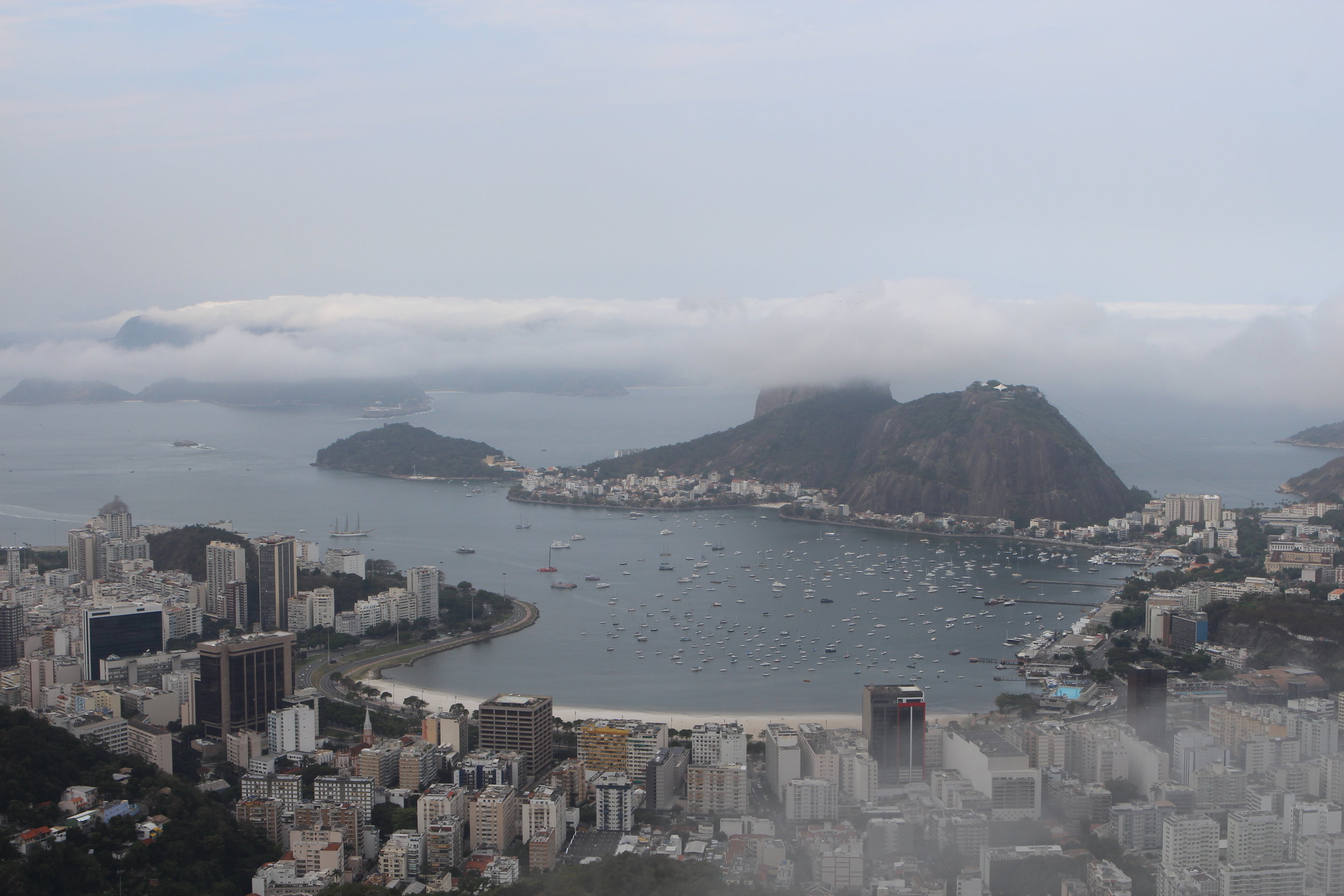 Clouds shroud the summit of Sugar Loaf, as eyes turn away from Brazil