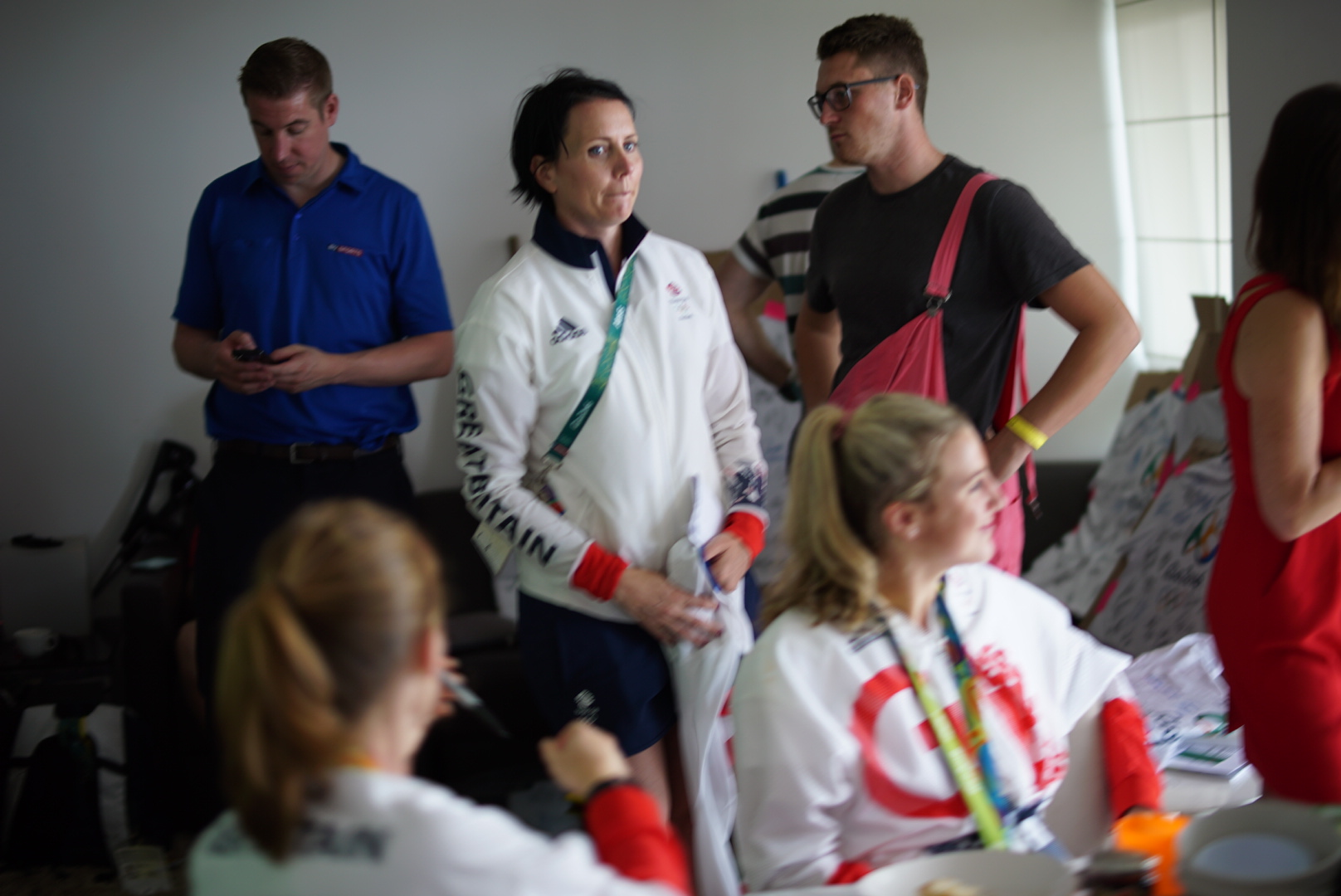 Me being far more interested in the football on telly than the five lovely gold medallists in the room...