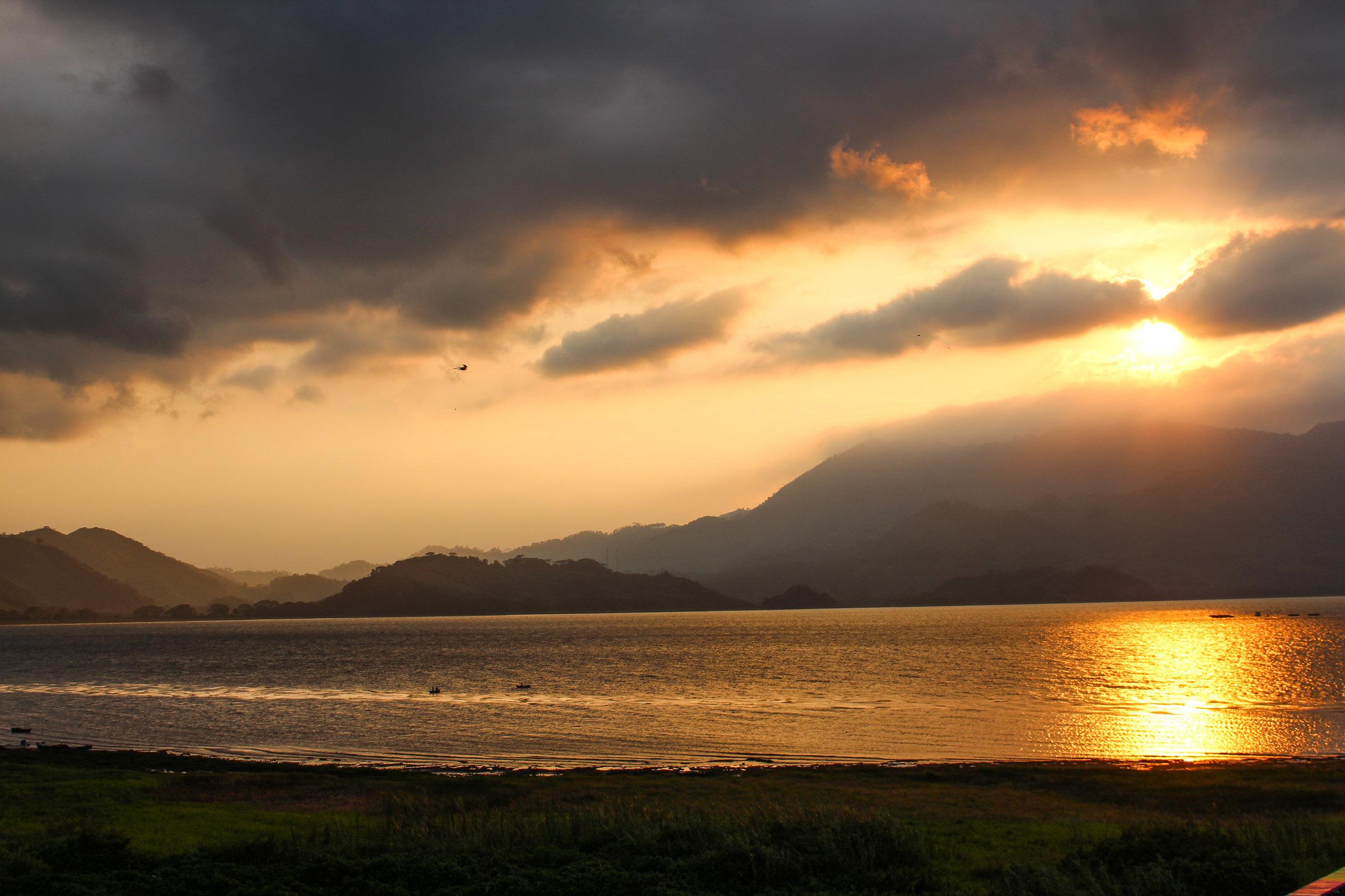 Lake Yojoa looking majestic at sunset. The surrounding area is under threat.