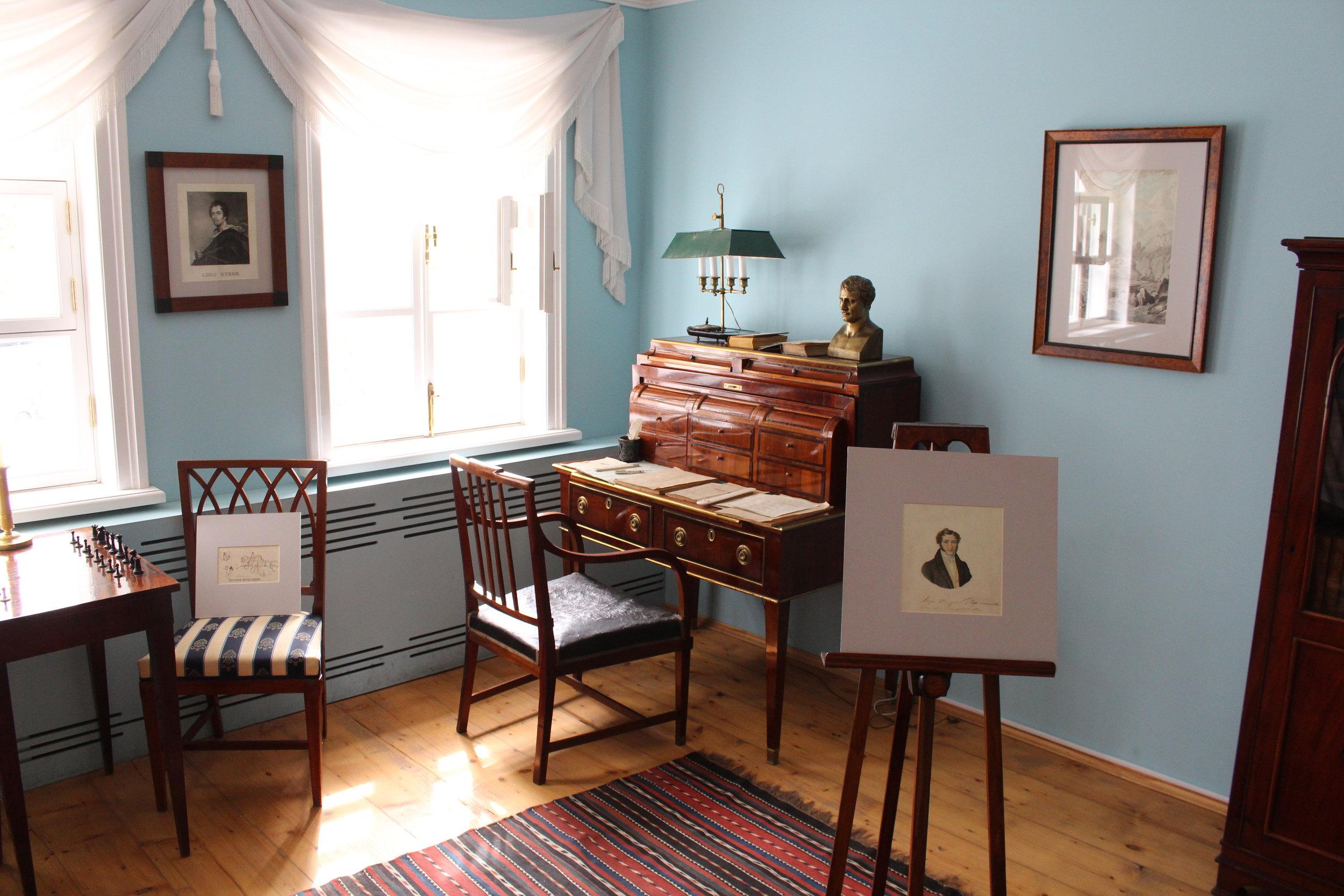 Mikhail Lermontov's study and writing desk