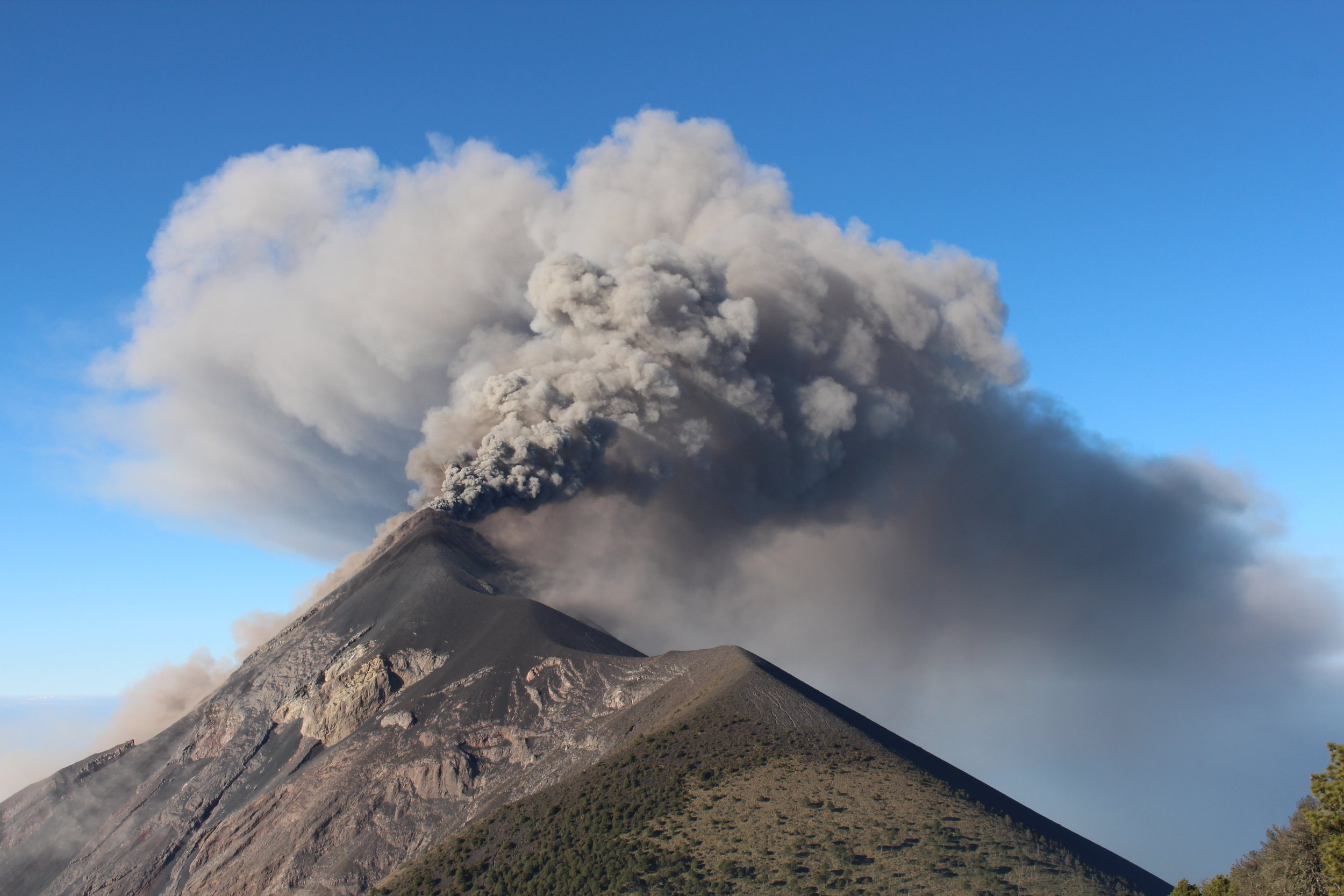 Fuego erupting by day