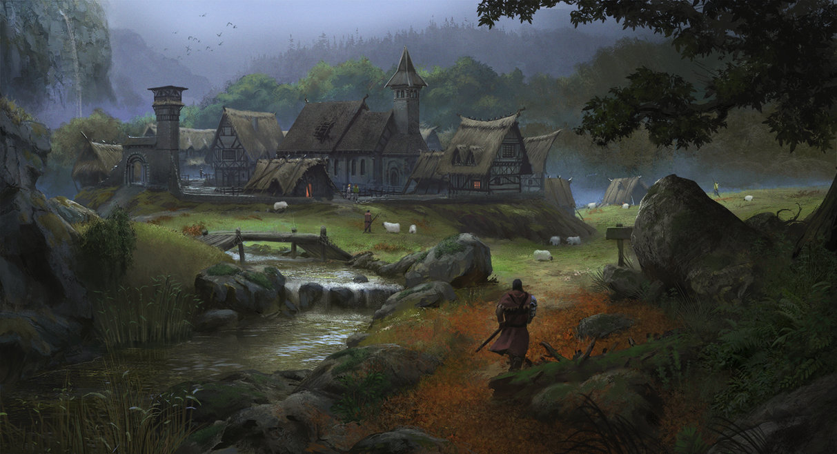 """This isn't really """"accurate"""" so much as the right feeling for the town. Earthwork embankments on all sides, not actually many buildings, rustic, misty, and wet. Sometime the artist in the group may draw a picture of the town, but only time will tell."""
