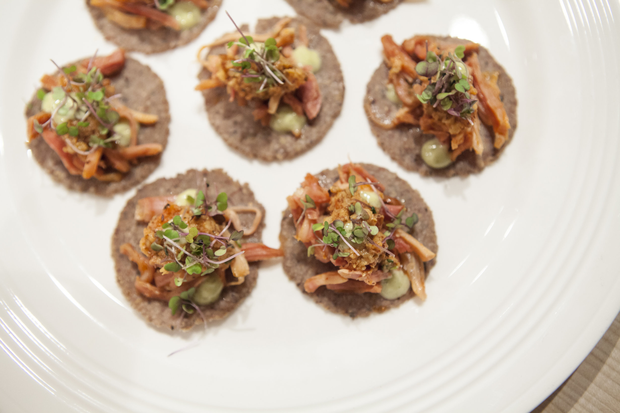 PASSED APPETIZERS - Dates Stuffed with Chorizo$2.25Crispy Polenta, Whipped Goat Cheese, Red Pepper Chutney$1.75Charred Vegetable Tostada, Black Bean Puree$2.25Ancho BBQ Pork, White Cheddar Biscuit, Pickled Red Onions$2.25Mexican Shrimp Cocktail, Avocado, Cilantro$2.25Green Chili Chicken, Guacamole, Tontine$2.25