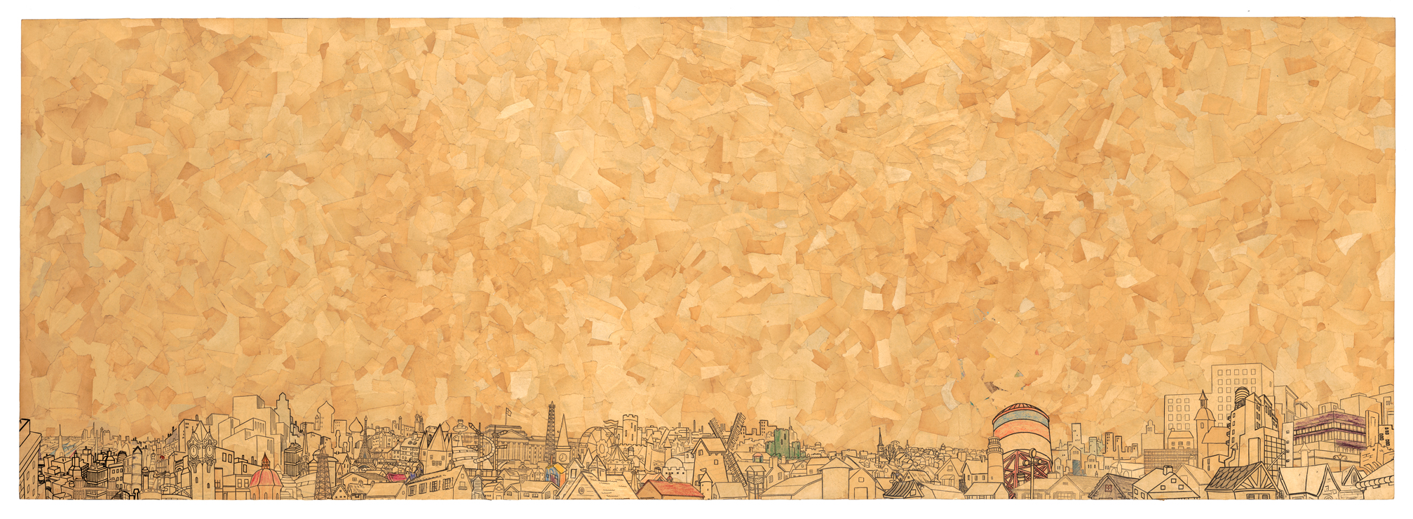 "Los Angeles, coloring book collage on panel, 25"" x 70"", 2010"