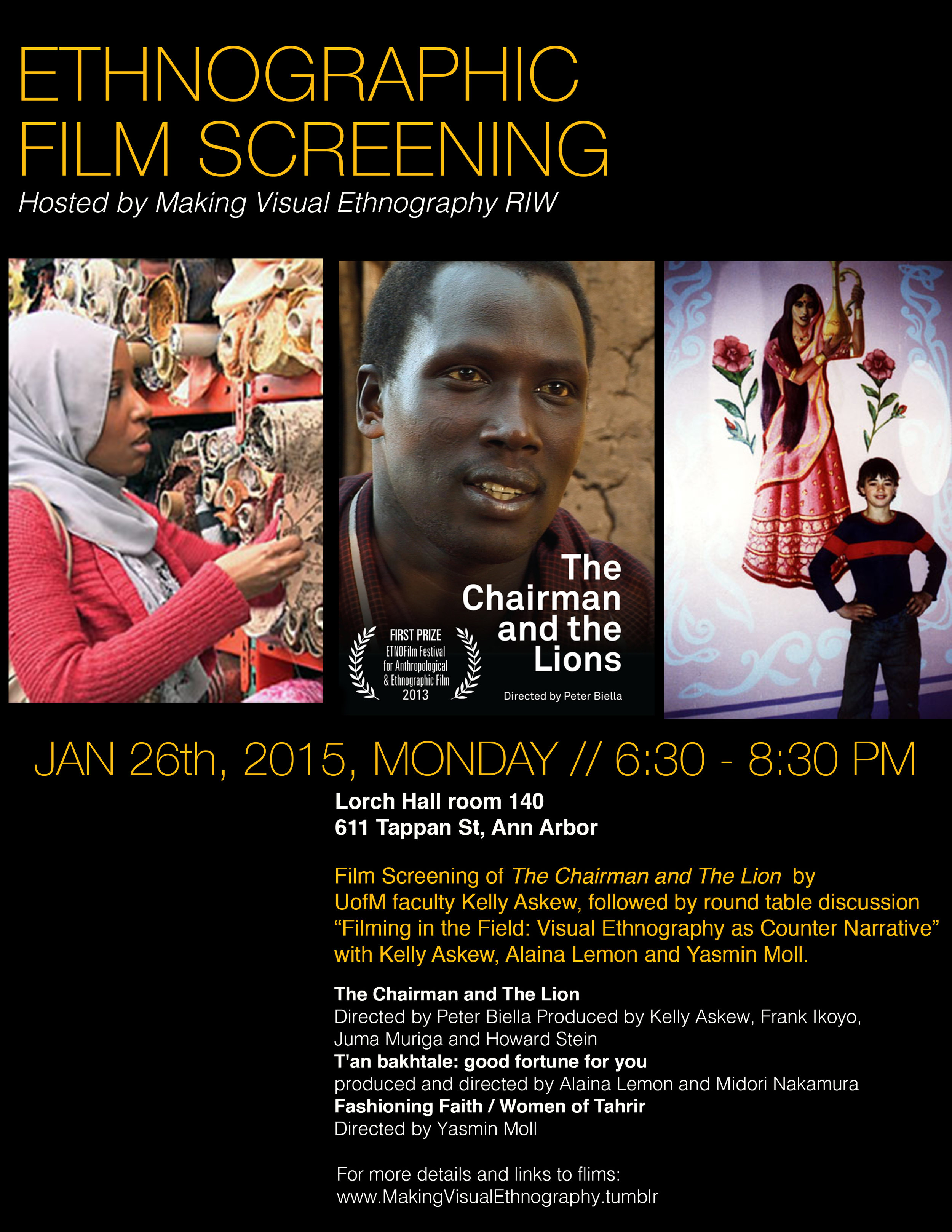 film Screening poster for Making VIsual Ethonography RIW, University of Michigan