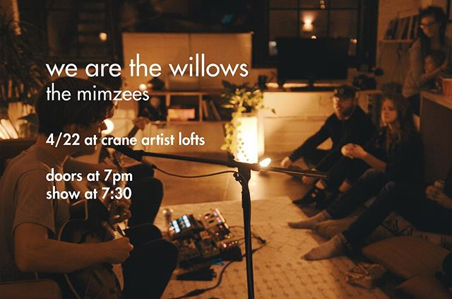 Monday night: We'll be joined by Peter of @wearethewillows and @themimzees for full sets and a recorded session. Cool evening vibes provided by @art_terrarium as always.  4/22 7pm doors 7:30 show $5 donation, BYOB