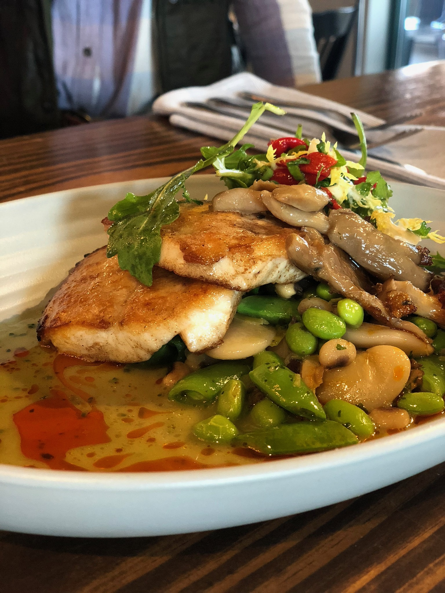 Chef Sara Bradley's of Freight House's Asian Carp with Heirloom Bean Succotash