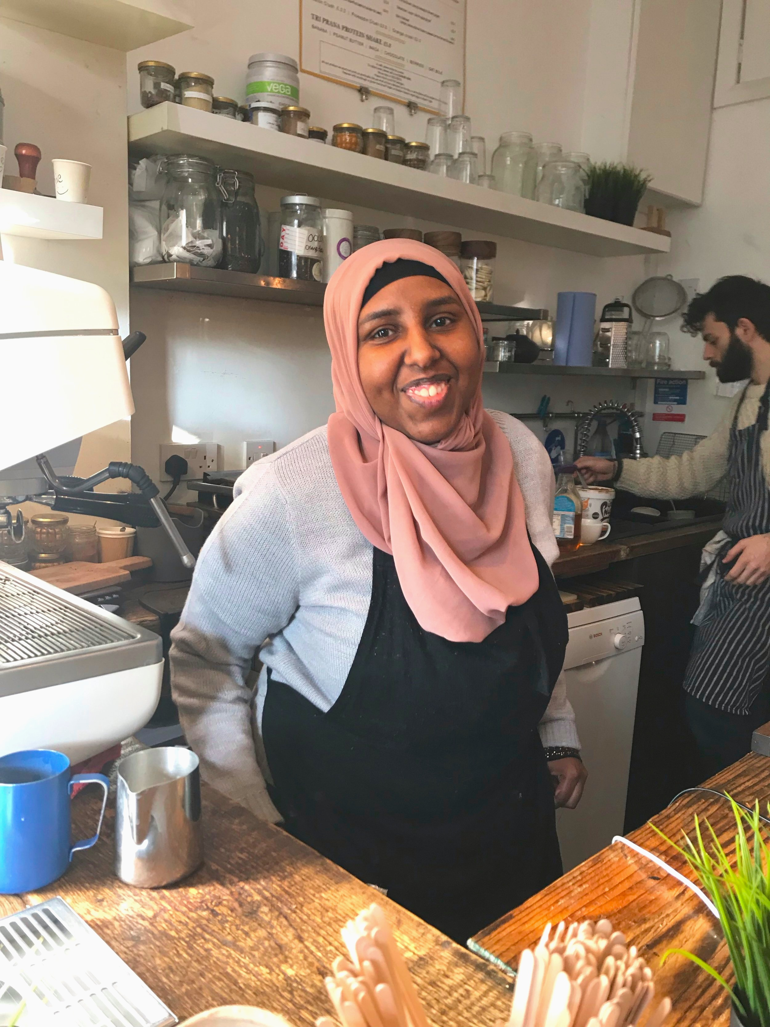 """Safia, 19 - """"I enjoyed my time at Tri Prana. The other staff were friendly and I learnt a lot. My favourite thing was making coffee and talking to the customers."""""""