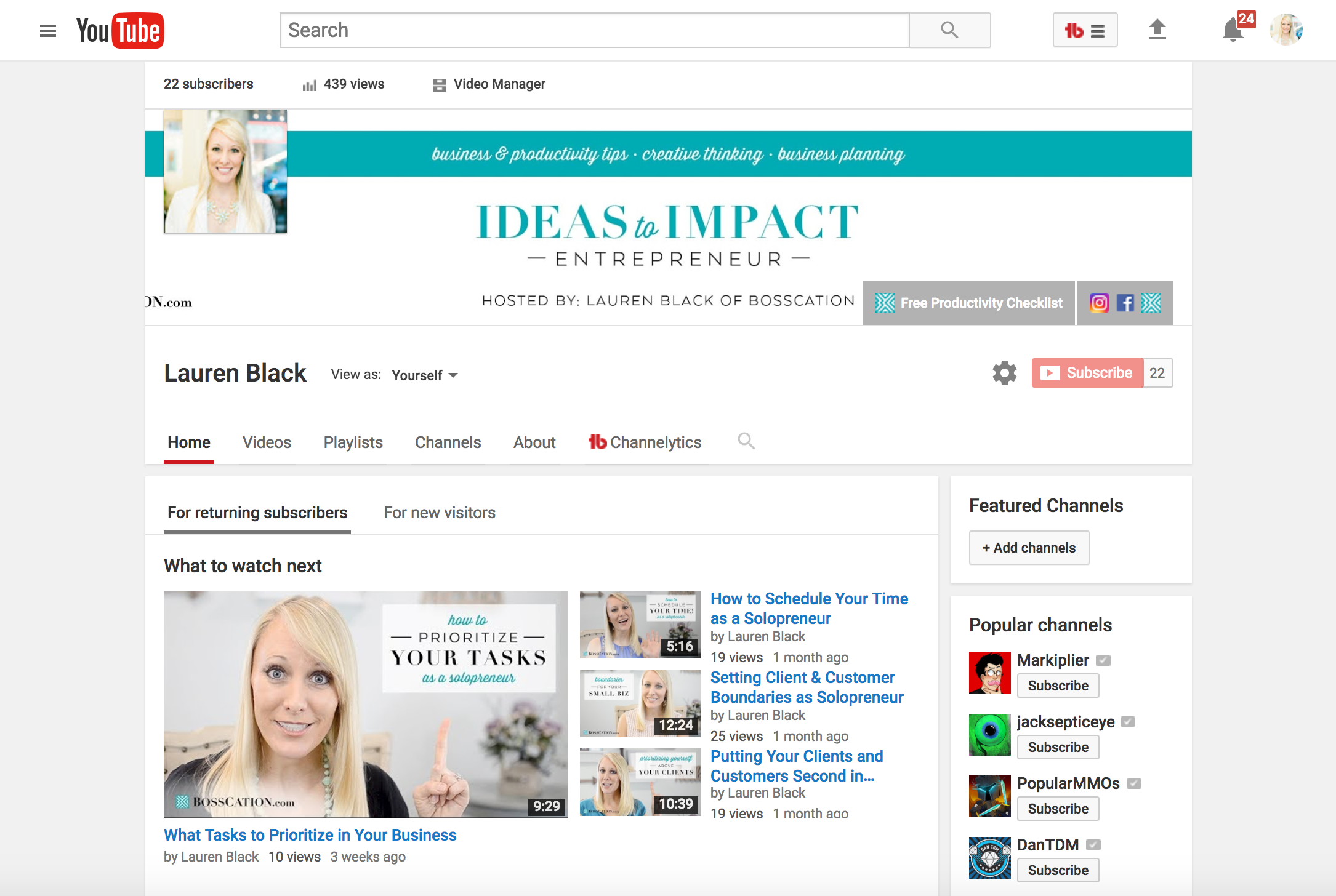 Lauren Black on YouTube — Ideas to Impact Entrepreneur