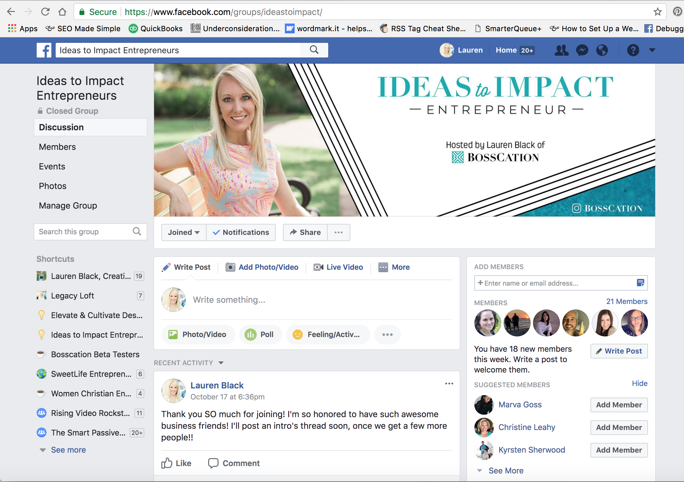 Join the Facebook Group! - Make sure to join us in the Ideas to Impact Entrepreneur Facebook group, to keep up with your new biz besties and follow along with the challenge!