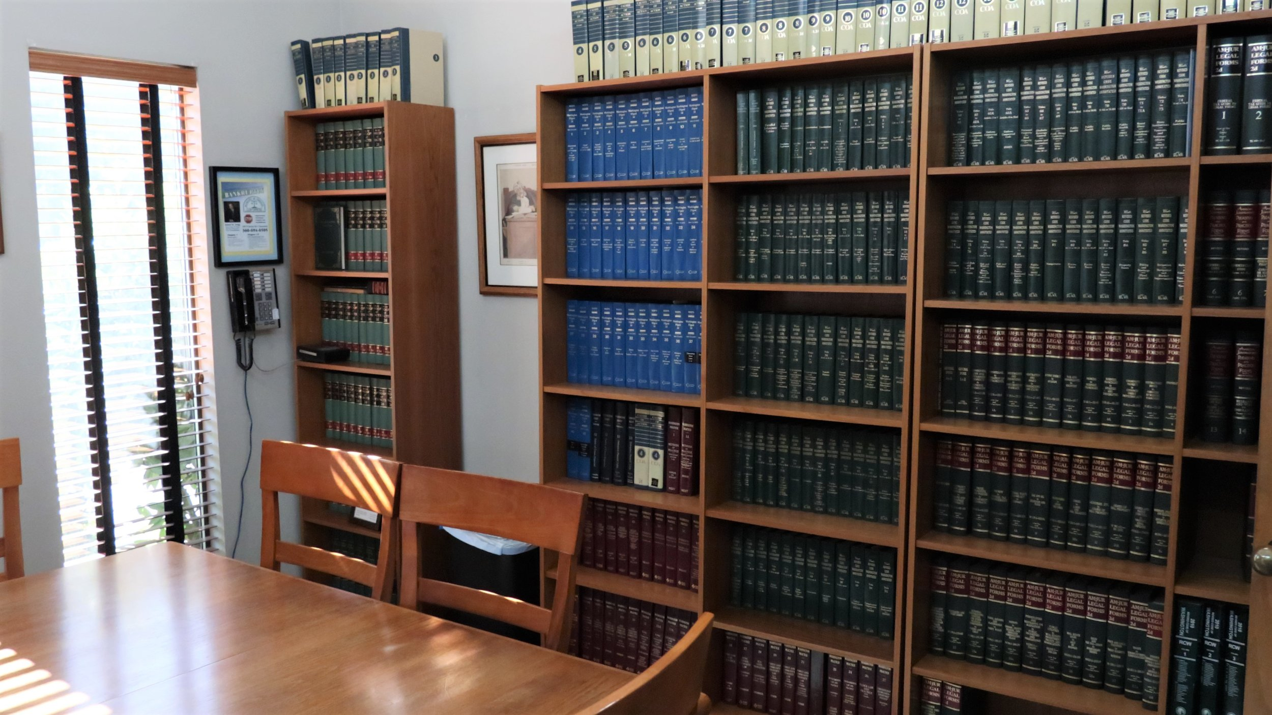 Our extensive, on-site legal library allows us research case law at a moment's notice.