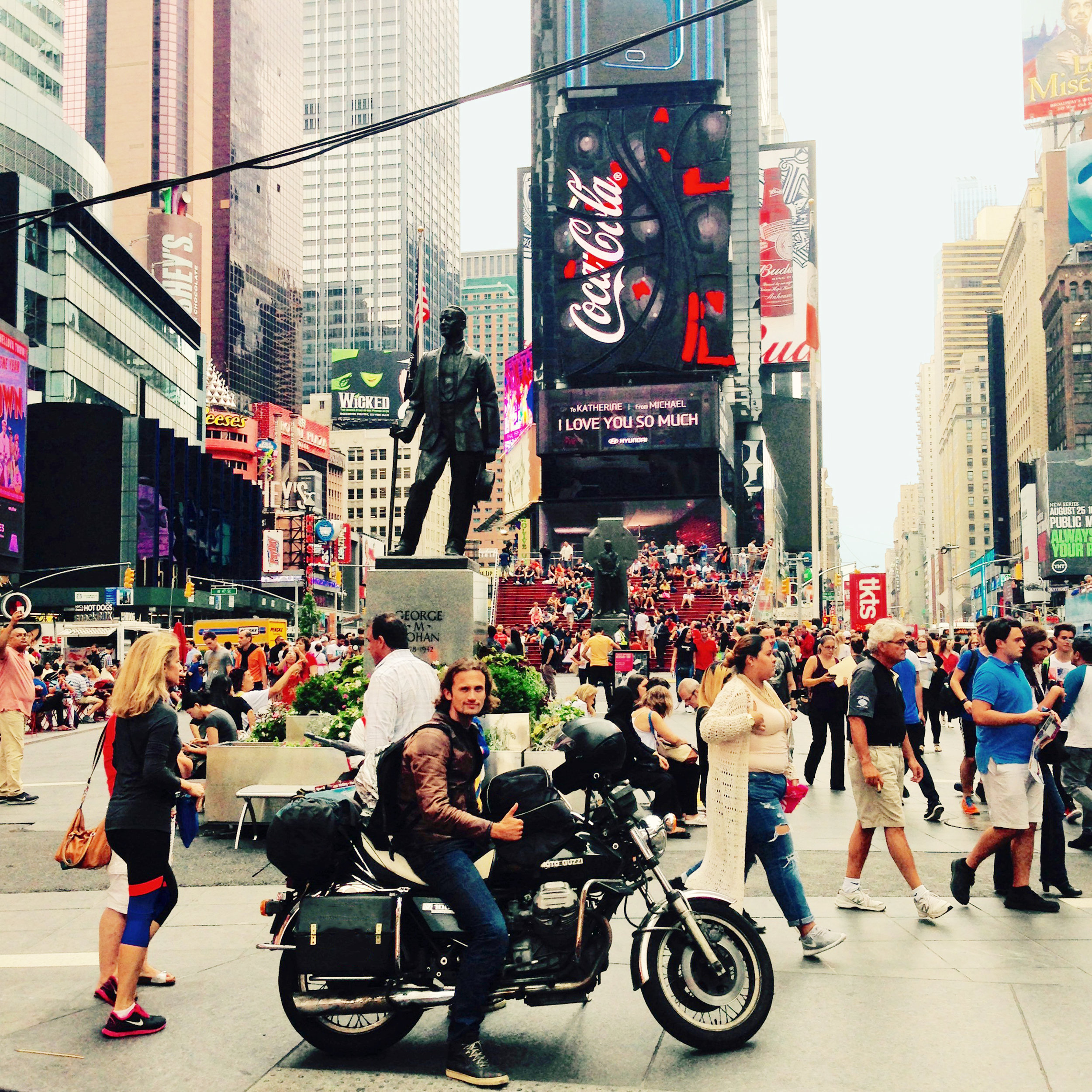 Gehaald: op Times Square in New York