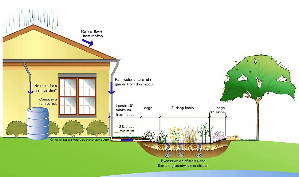 Rain Garden Illustration (Source: Franklin Soil and Water conservation district)