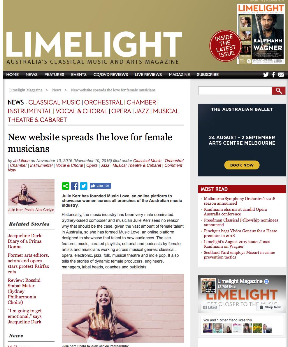 November, 2016. Julie Kerr in Limelight Magazine: New website spreads the love for female musicians