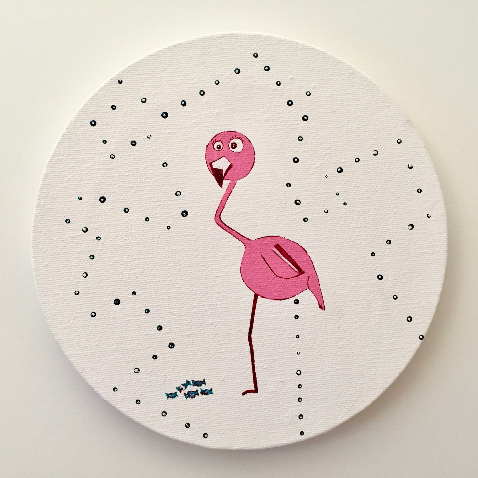 Fatima the Flamingo (at day)  2013 Acrylics on canvas 20cm diameter  More information