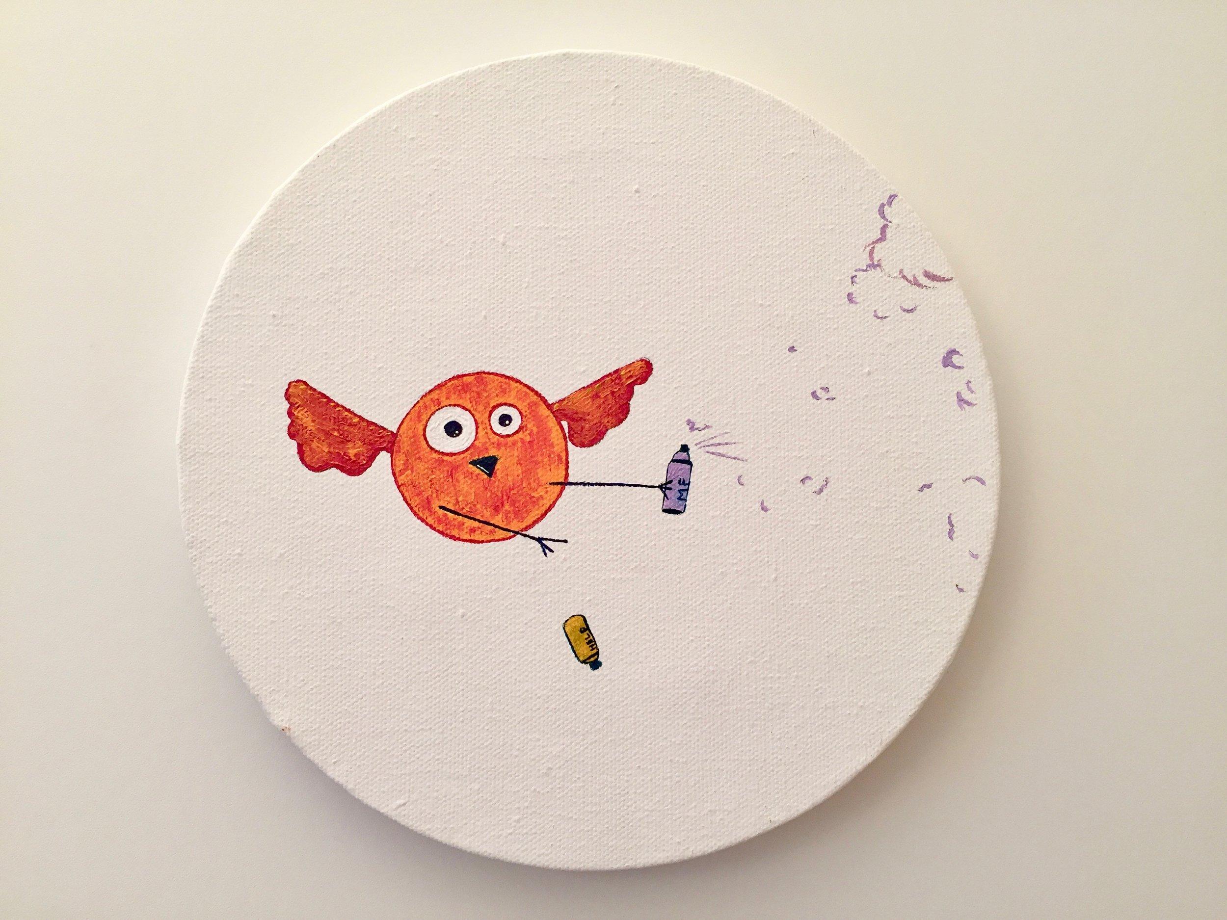 Help the graffiti bird  2013 Acrylics on canvas 20cm diameter  More information