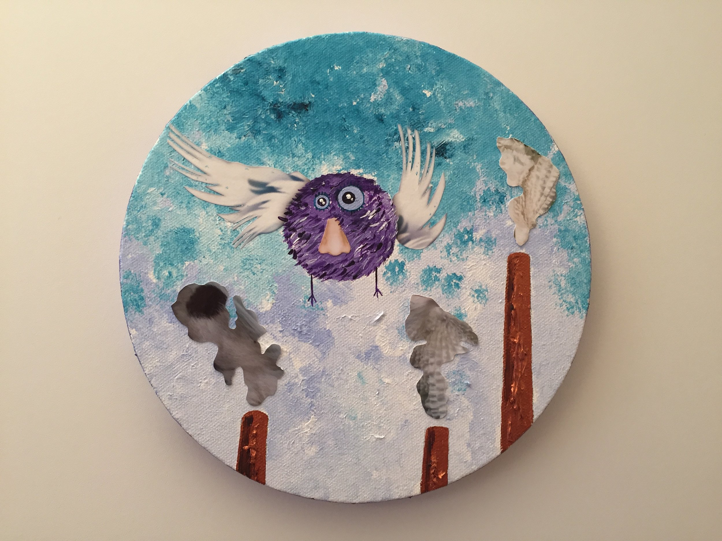 Nosebird escapes  2013 Paints and collage on canvas 20cm diameter  More information