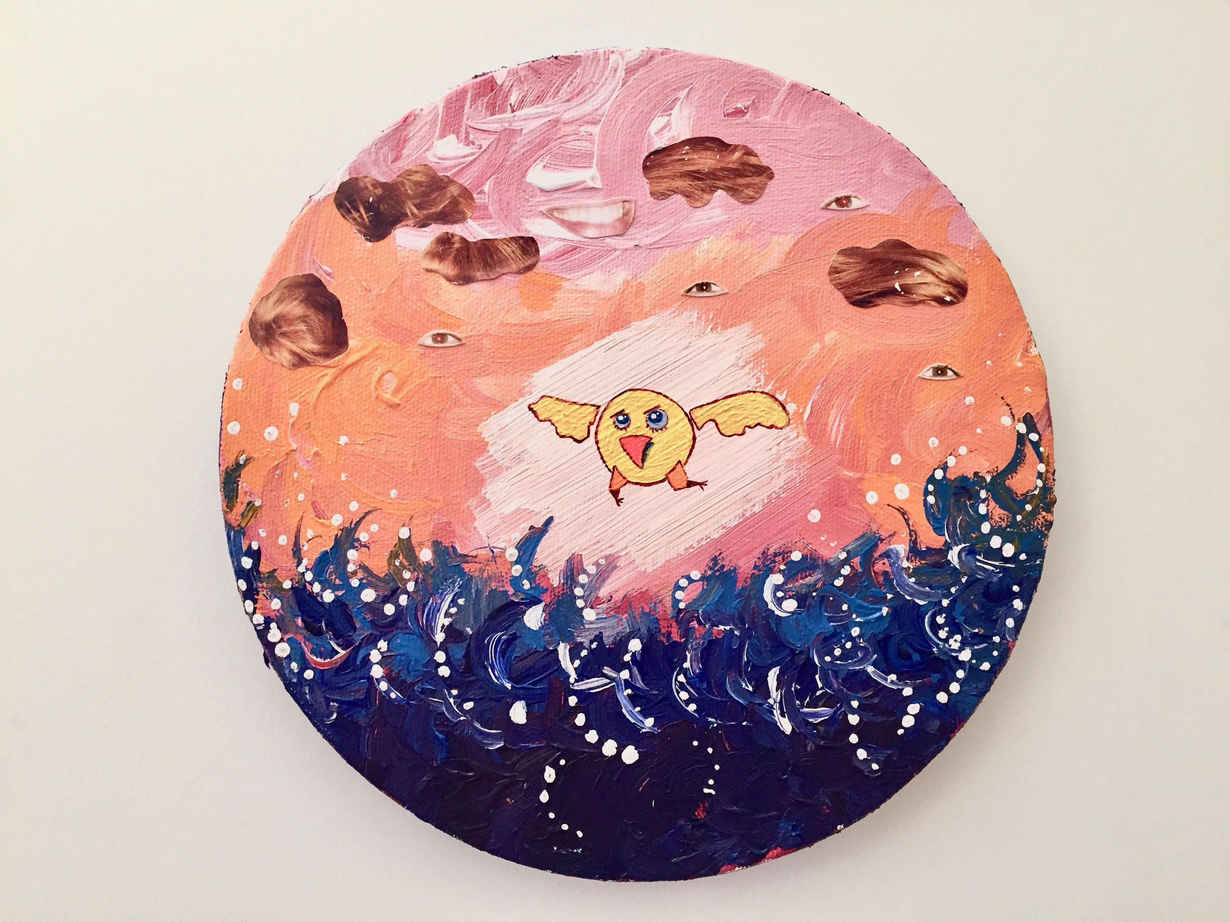 Greetings from apocalyptic bird  2013 Paints and collage on canvas 20cm diameter  More information