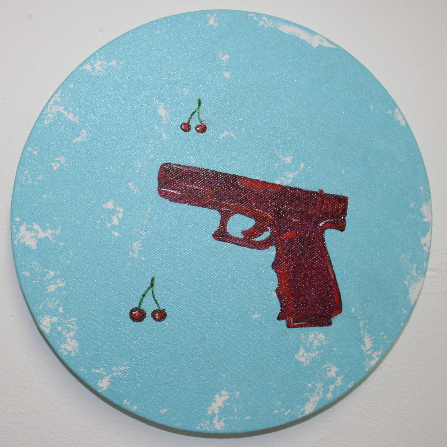 I shot the cherries …  2012 Acrylics on canvas 20cm diameter  More information