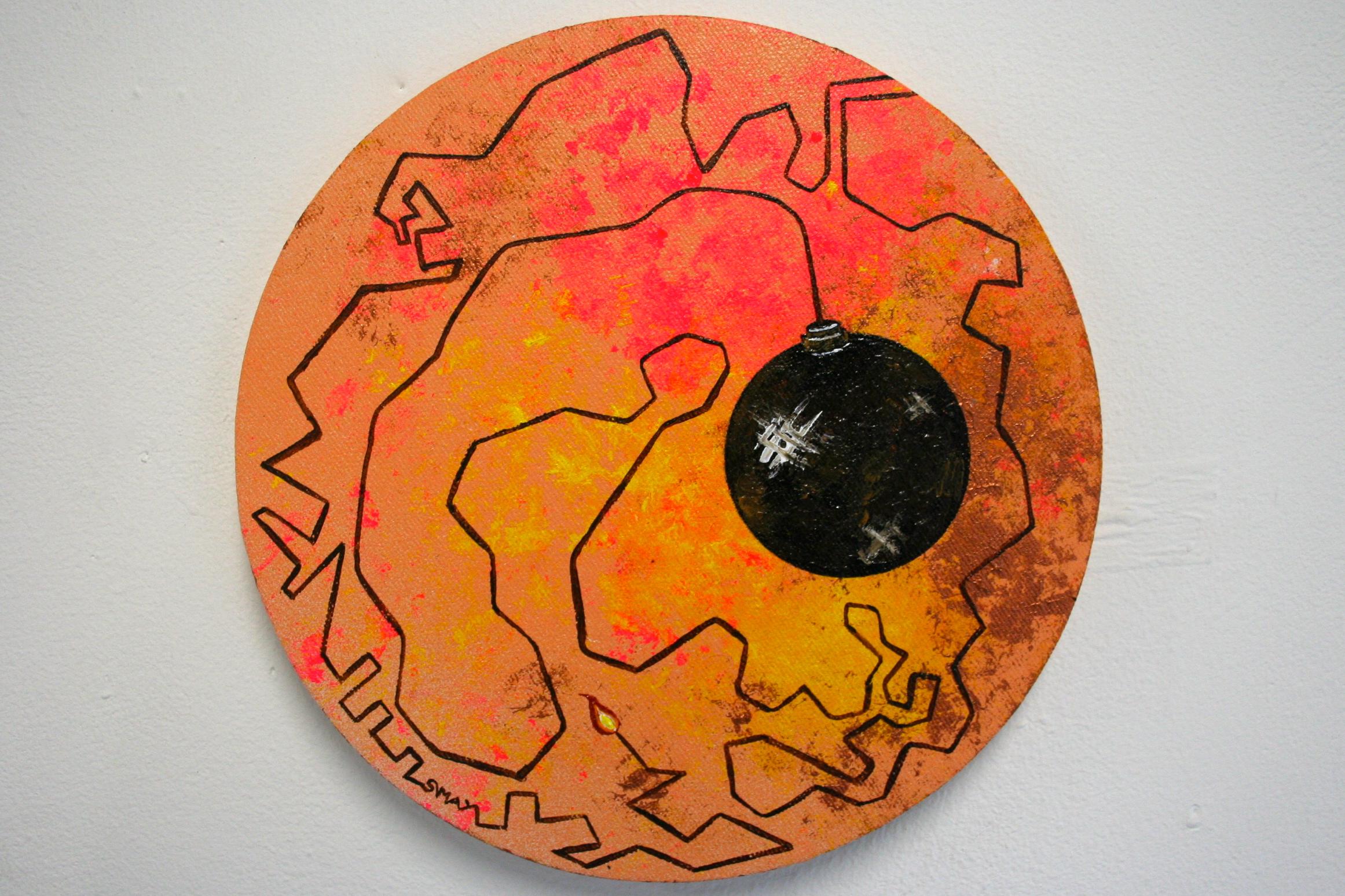 Enlighten me  2012 Acrylics on canvas 20cm diameter  More information