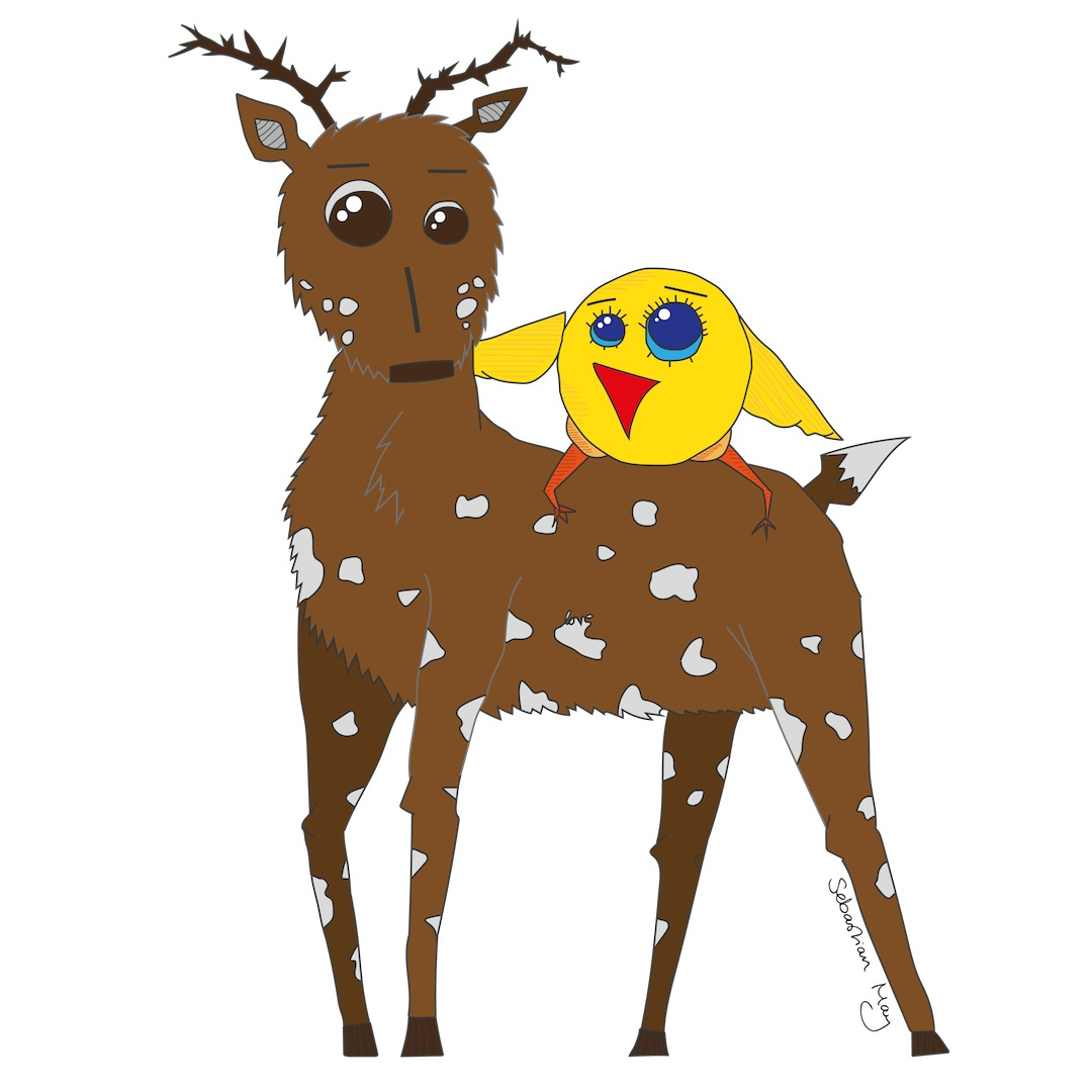 Diego the Deer and Yellow Bird  2016 Digital illustration 6500 px x 5525 px  More information