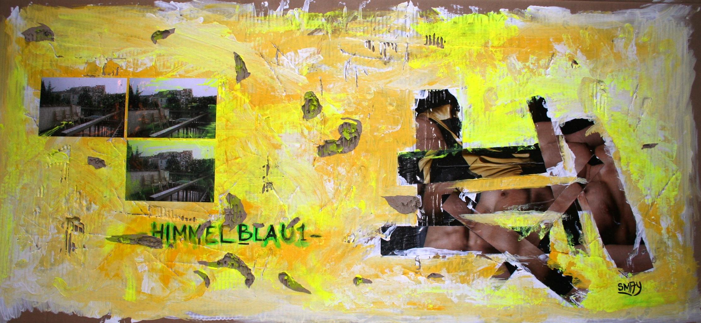 Himmelblau1  2009 Mixed media collage on cardboard 122 x 55cm