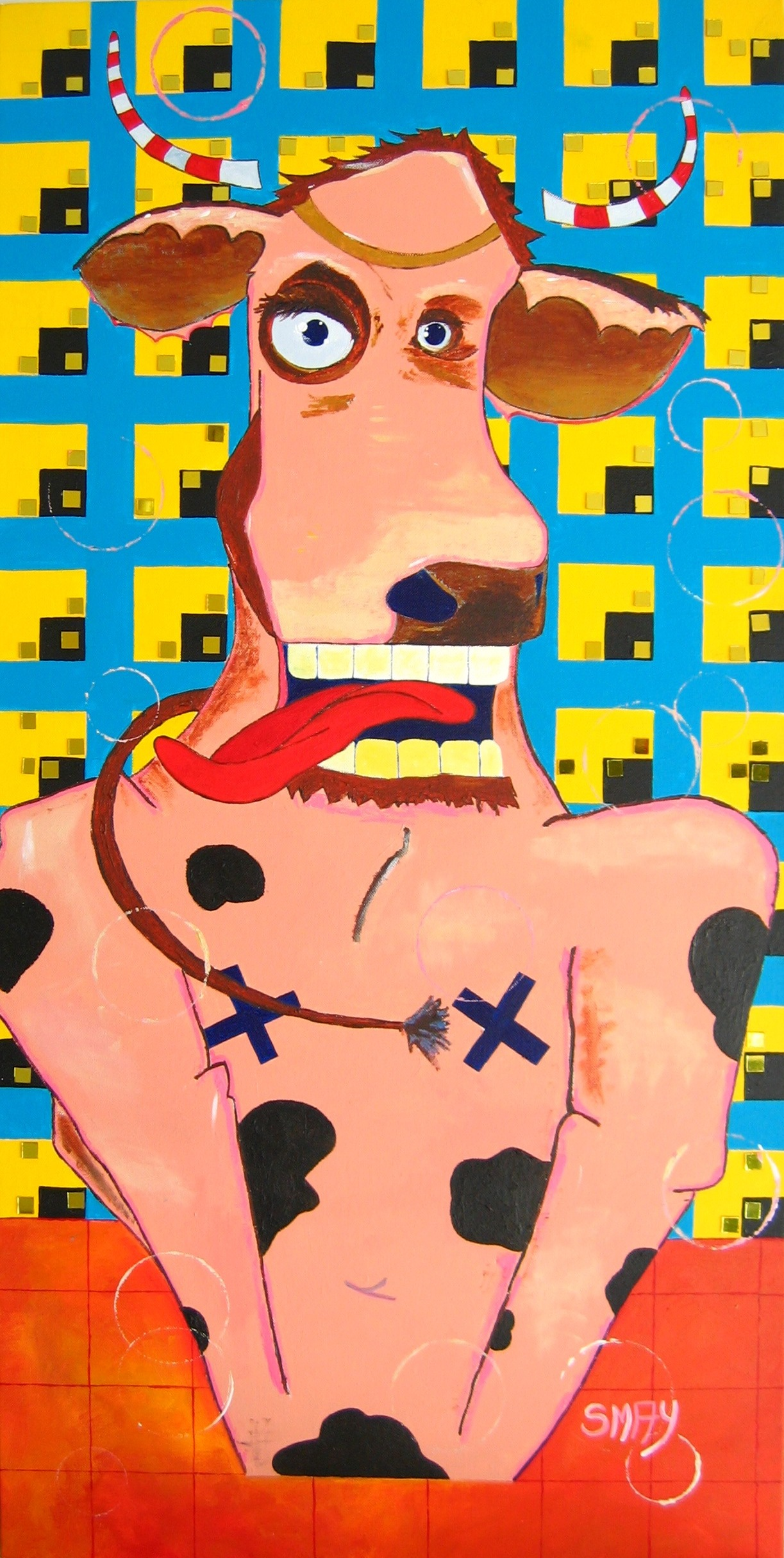 Cow Tongue for Dinner  2008 Mixed media on canvas 58 x 68cm