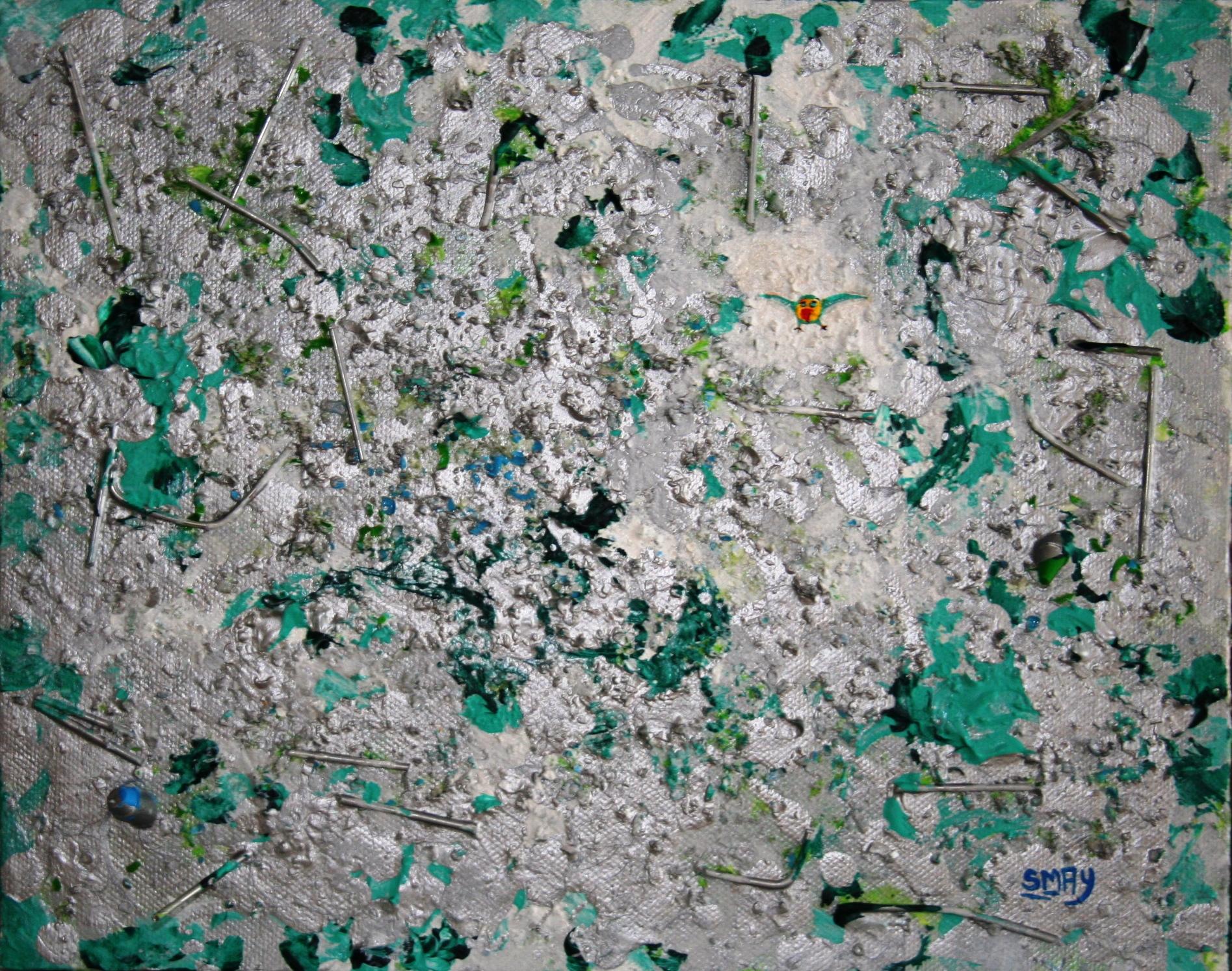 Nail The Bird  2009 Mixed media on canvas 24 x 30cm