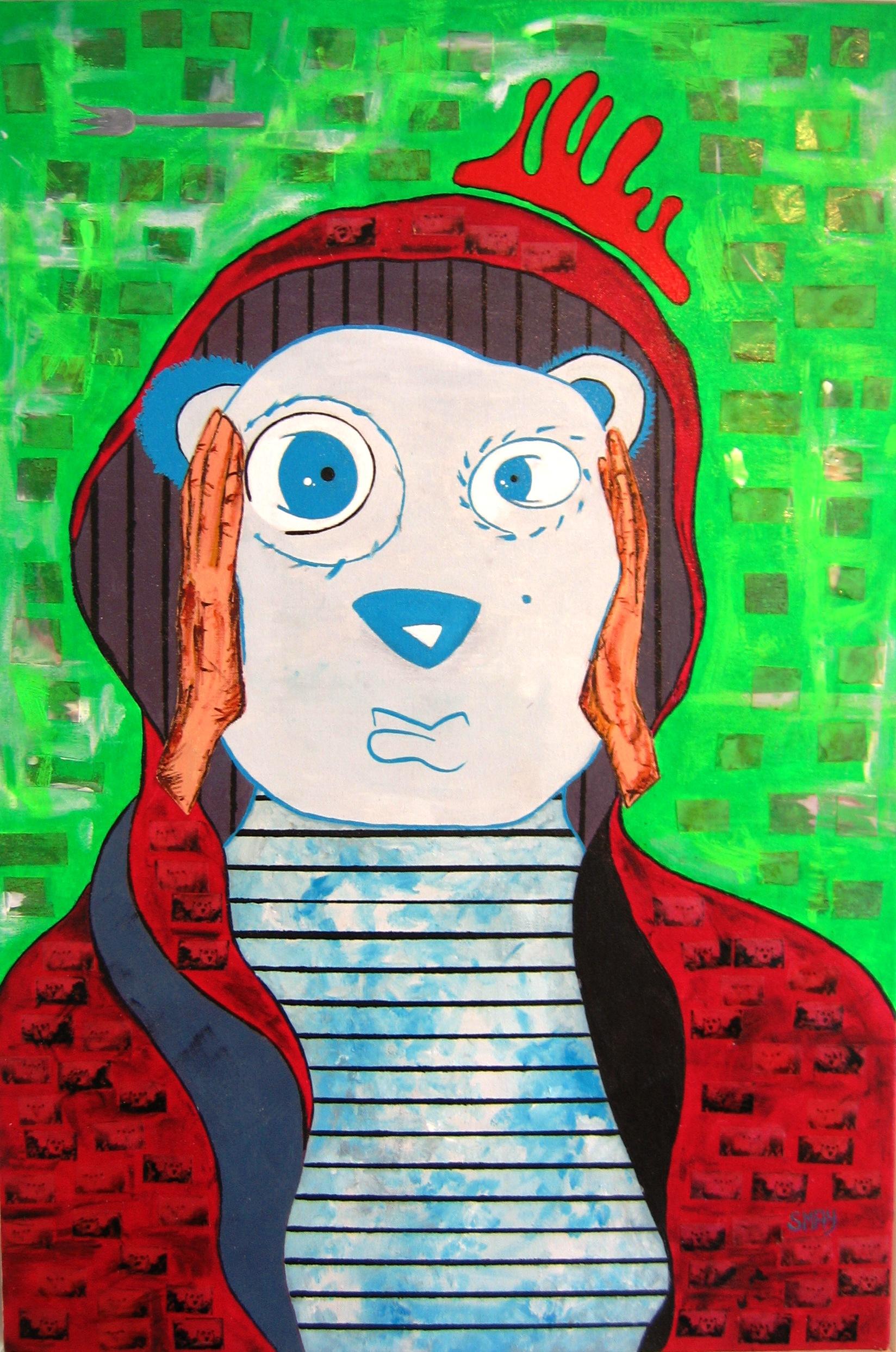 Polar Bear Rage  2008 Mixed media on canvas 69 x 98cm