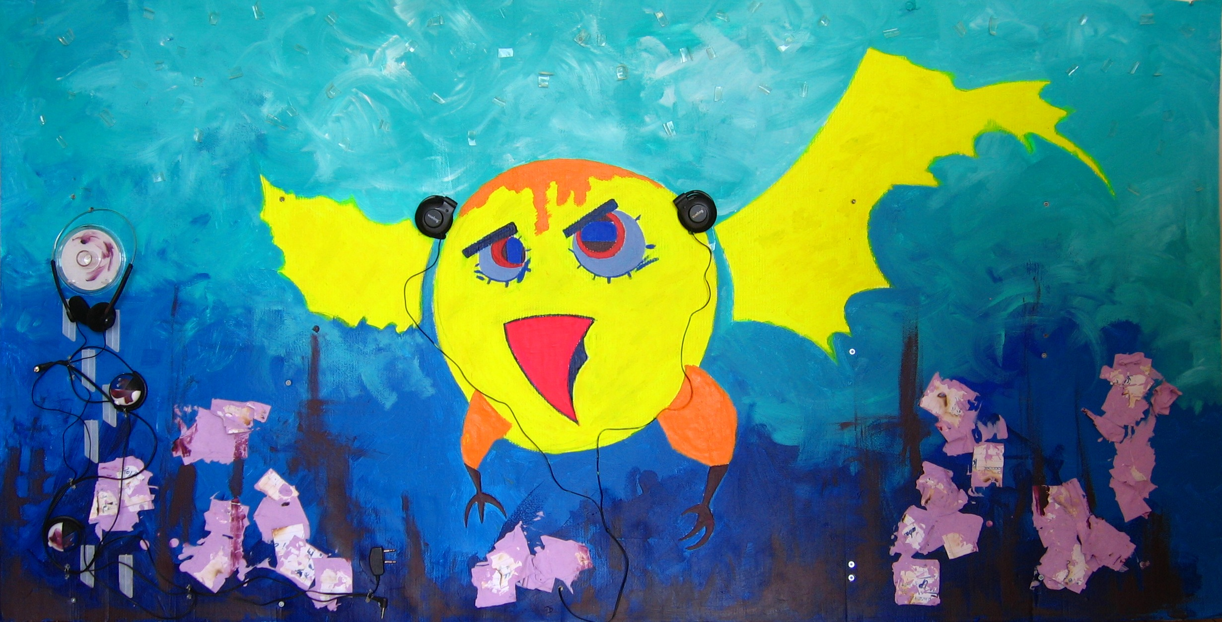 The Sound of Bird  2008 Mixed media on canvas 158 x 82cm