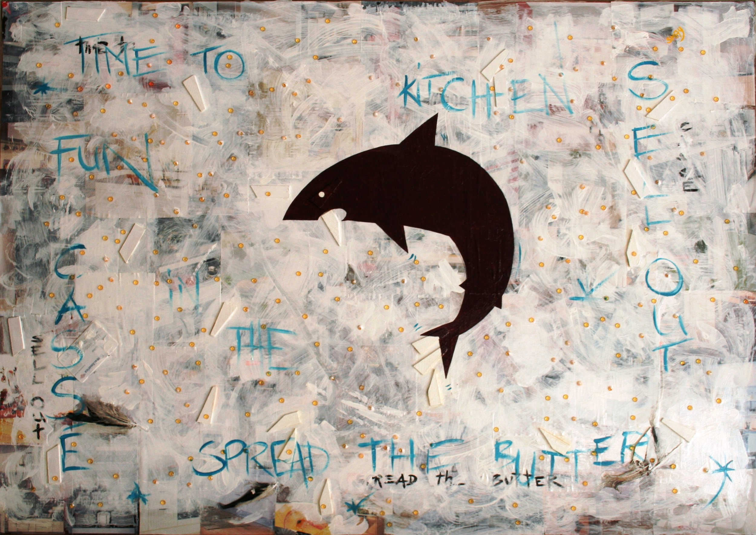Time to Spread the Butter  2008 Mixed media on wood 123 x 85cm