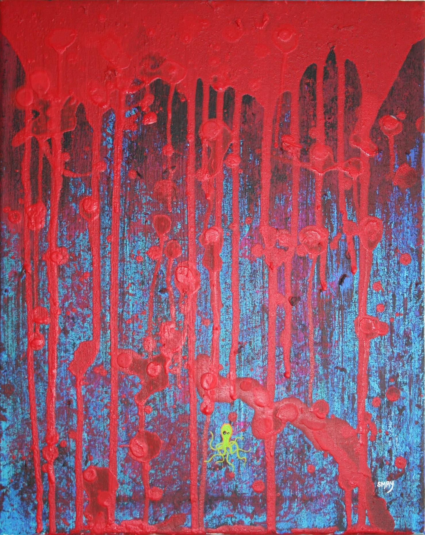 Waiting  2009 Acryclics on canvas 44 x 55cm