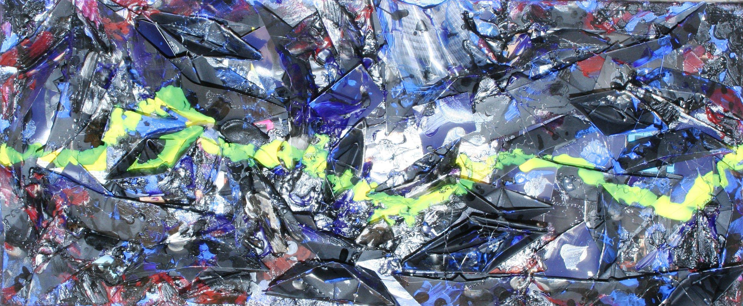 Cajun moon, sunken boat (black)  2010 Mixed media on canvas 70 x 30cm