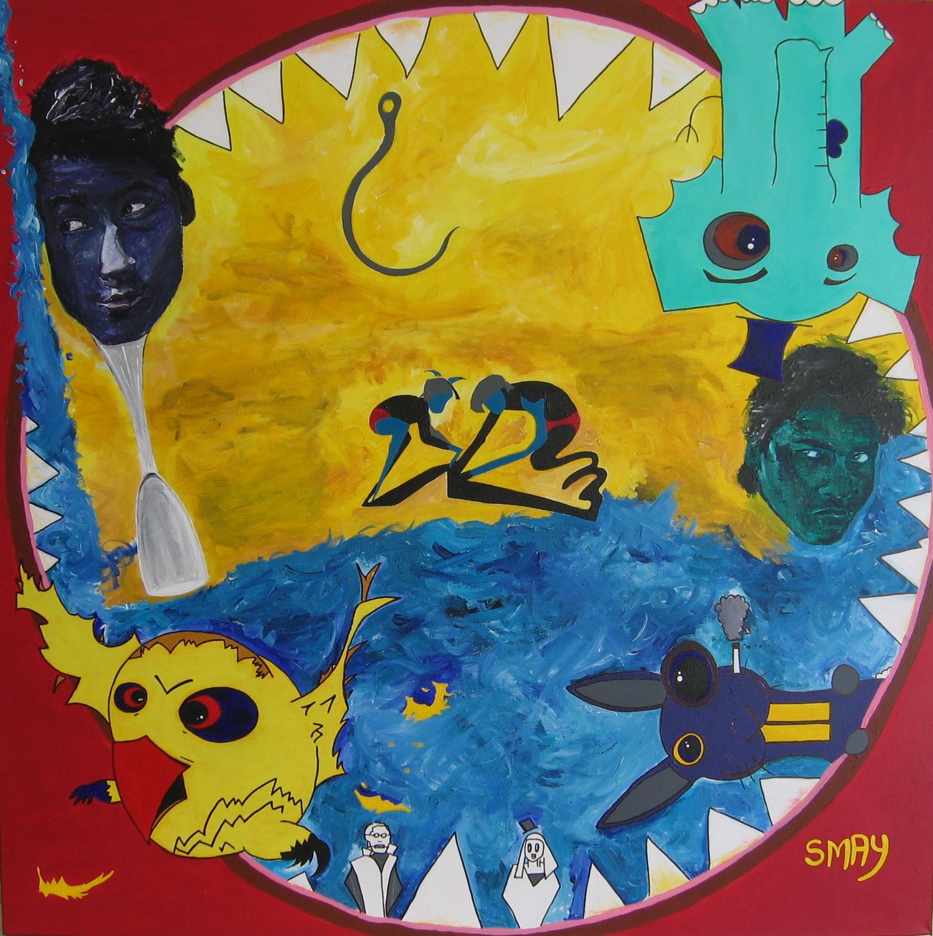 Lemon Bird Blast  2007 Acrylics on canvas 92 x 92cm